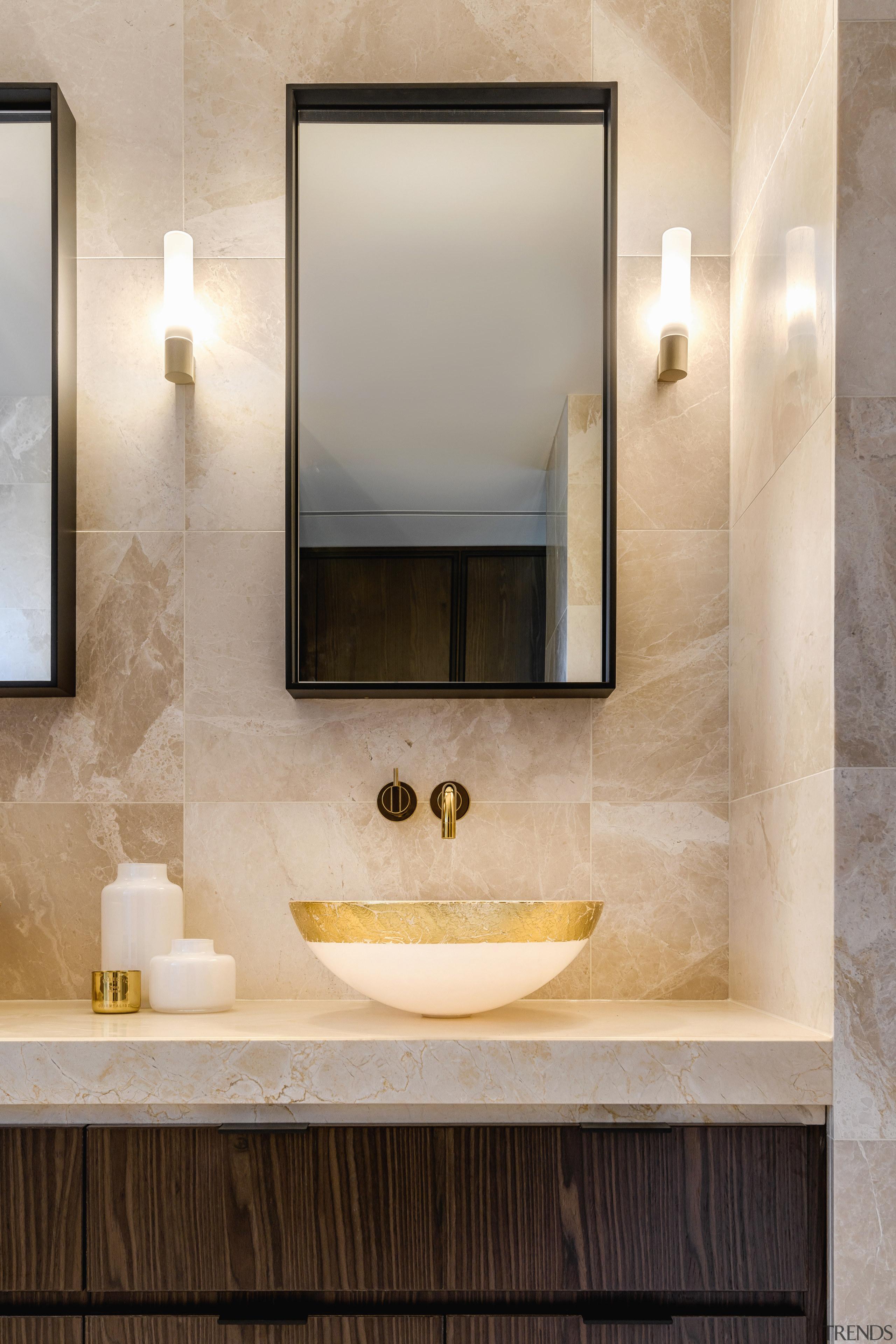 Custom steel-framed mirror wall cabinets provide additional storage architecture, bathroom, bathroom accessory, bathroom cabinet, bathroom sink, floor, interior design, marble, plumbing fixture, Davinia Sutton, mirror, wall cabinets