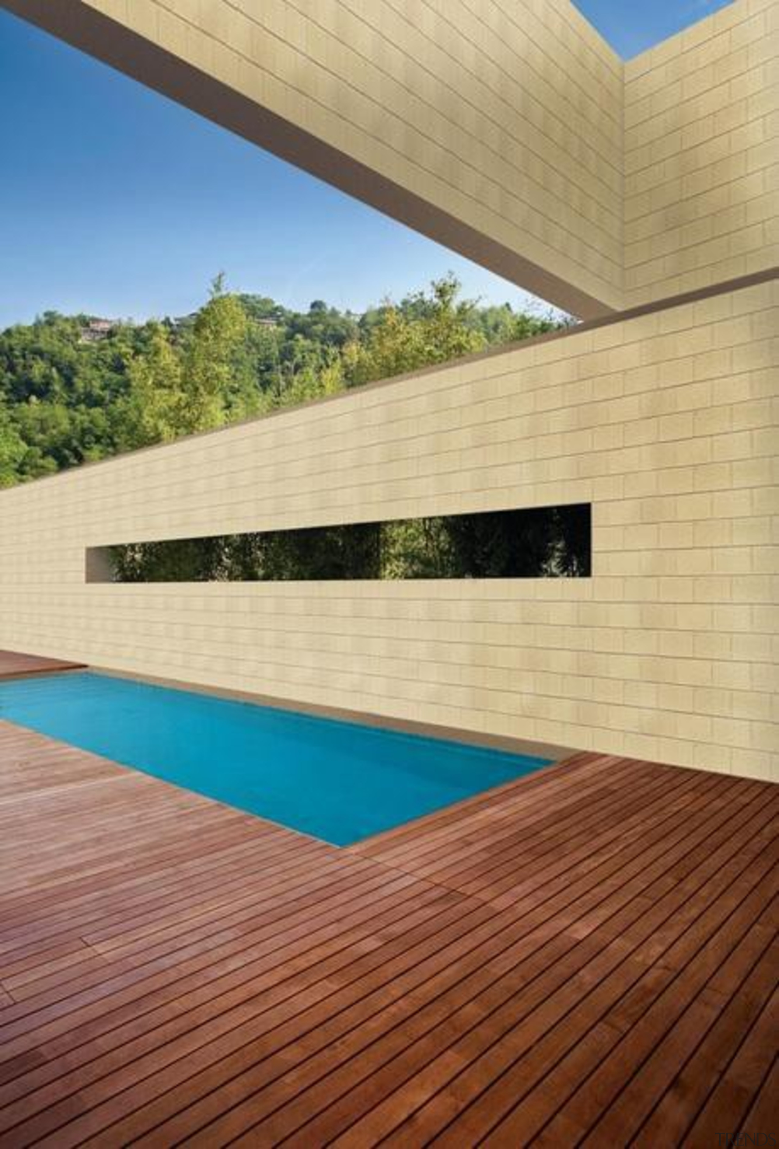 When selecting materials for a new home it architecture, daylighting, facade, floor, hardwood, house, property, real estate, roof, sky, swimming pool, wall, wood, orange, brown