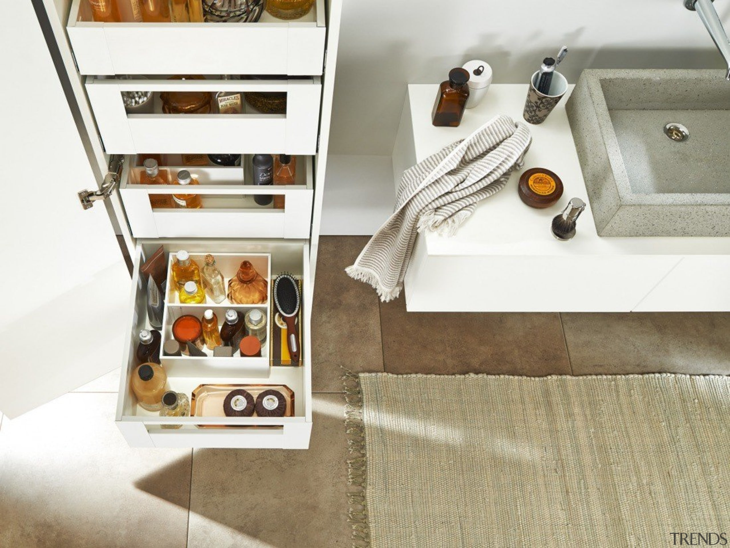 AMBIA-LINE inner dividing system – organization at its floor, flooring, furniture, white