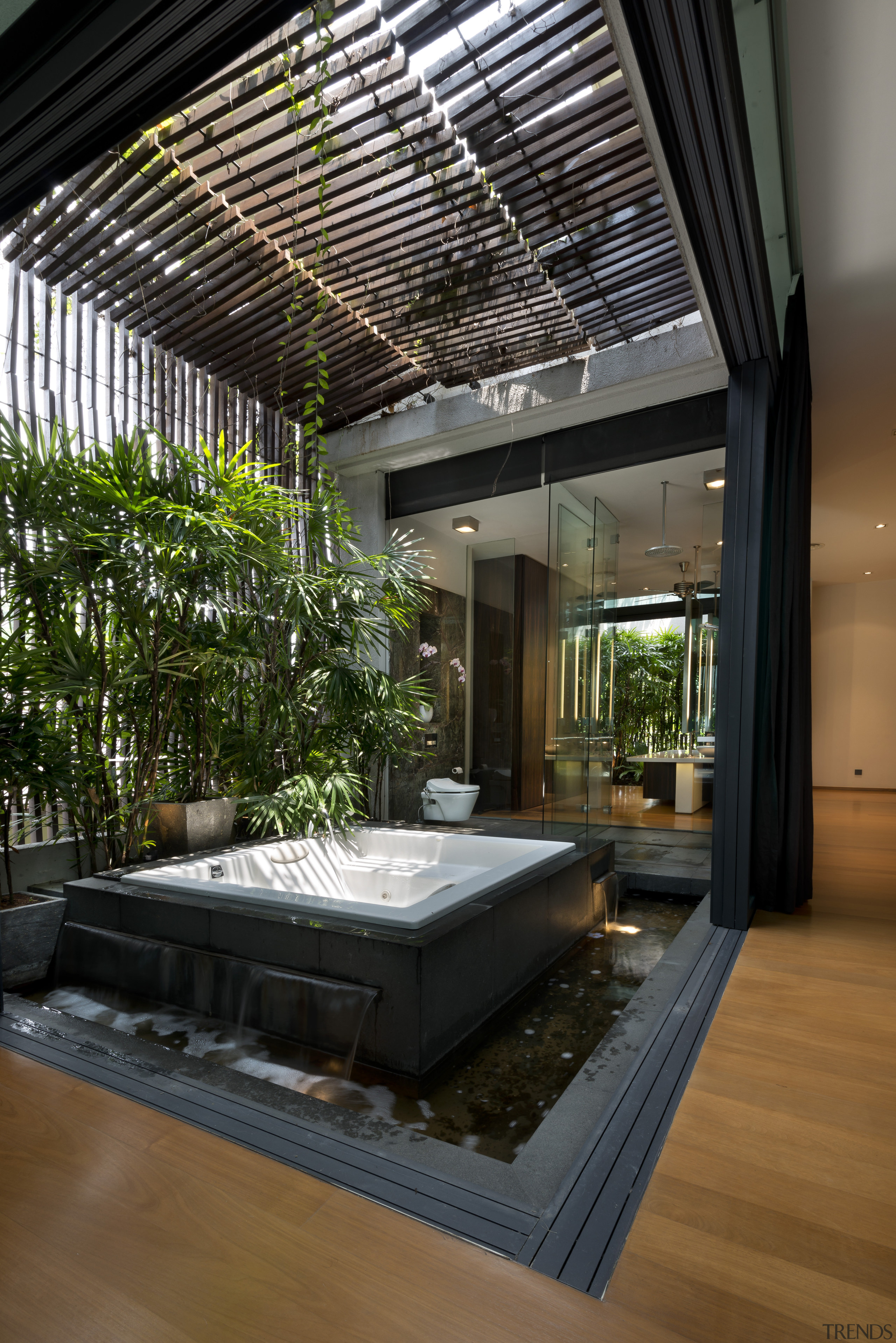 The master suite on the top level of architecture, ceiling, condominium, courtyard, daylighting, estate, home, house, interior design, lobby, real estate, black, brown