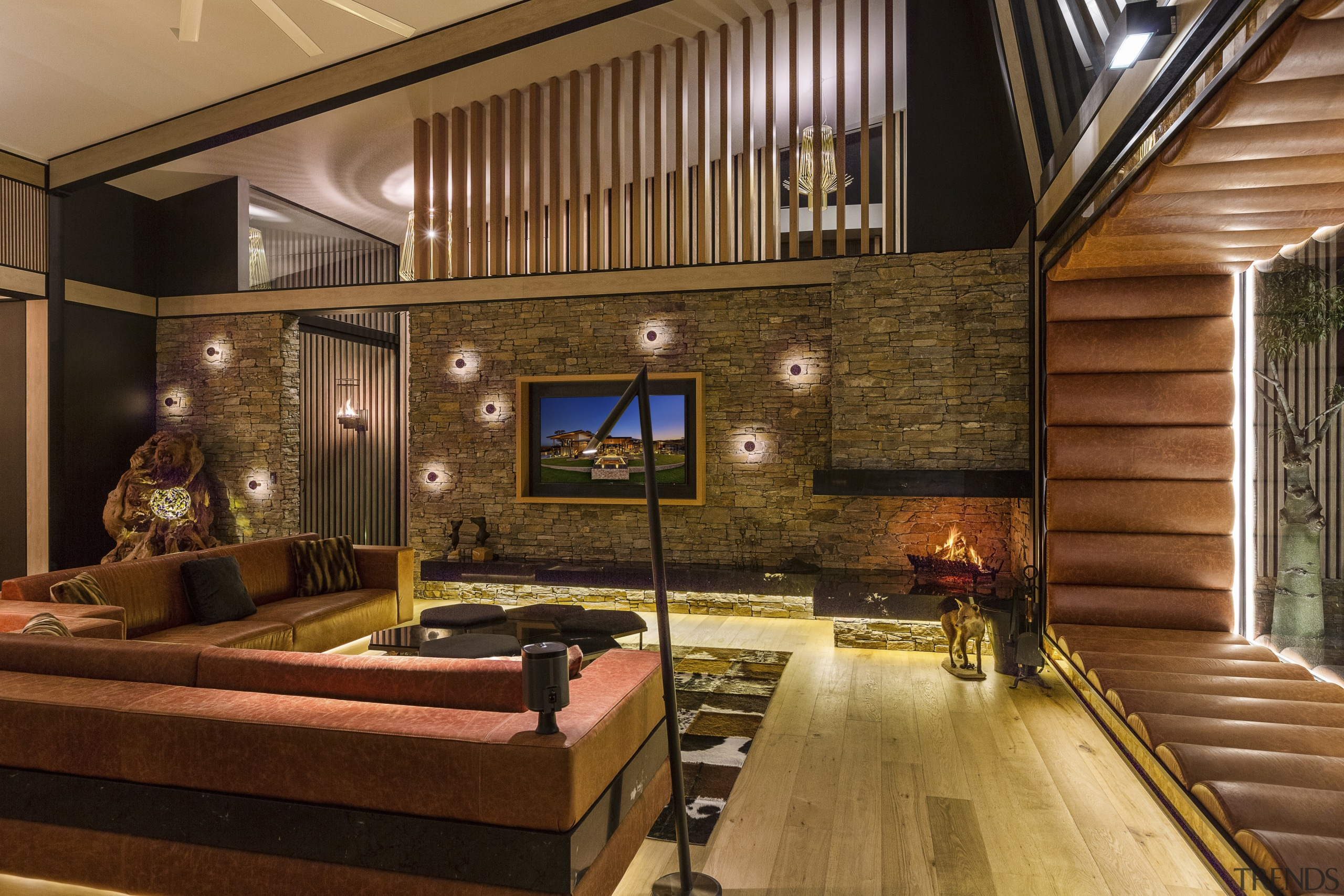 A feature fire in the corner of this ceiling, interior design, living room, wood, brown