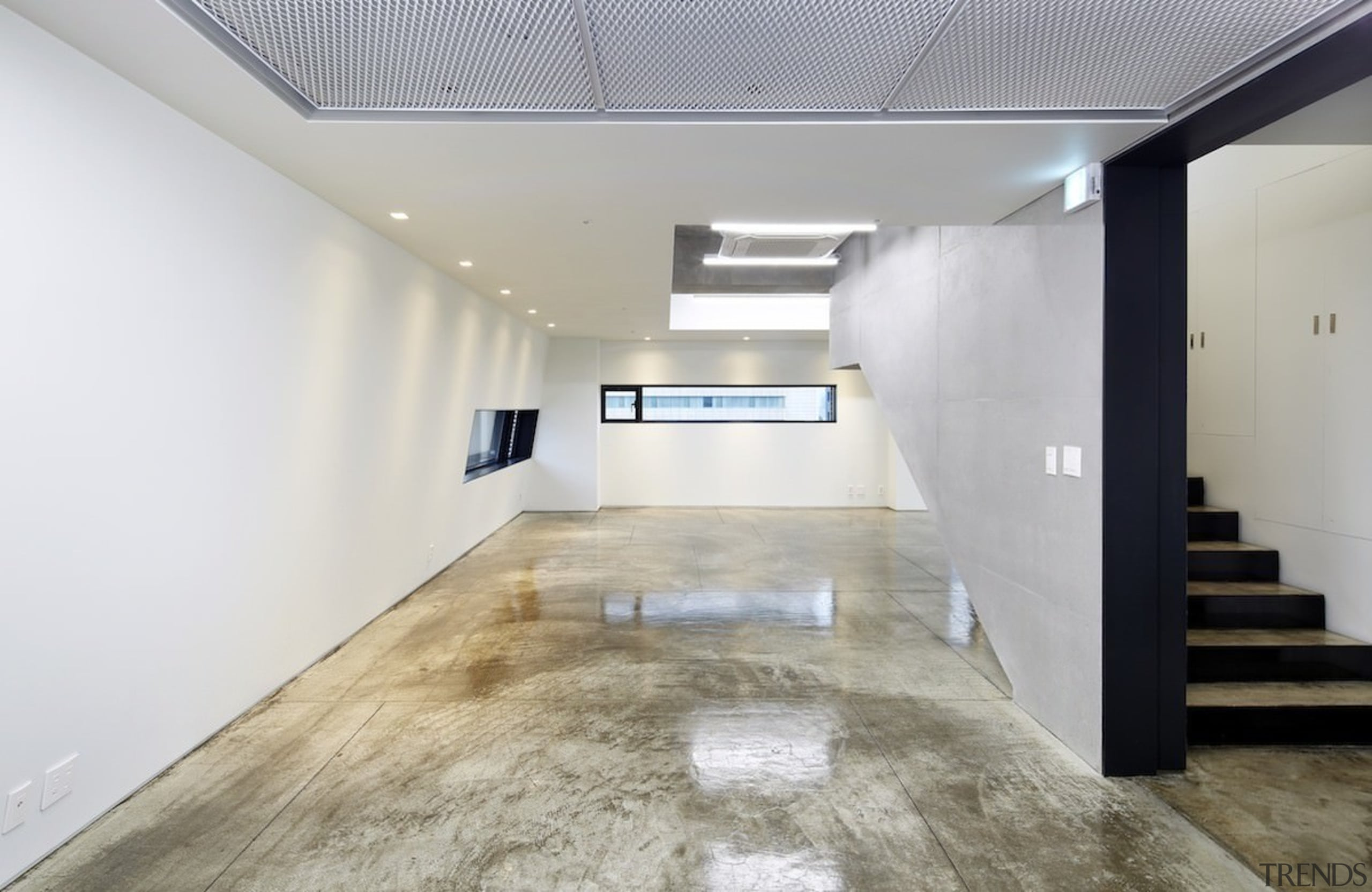 The 925 Building - The 925 Building - ceiling, daylighting, floor, flooring, interior design, lobby, property, real estate, wood flooring, gray, white