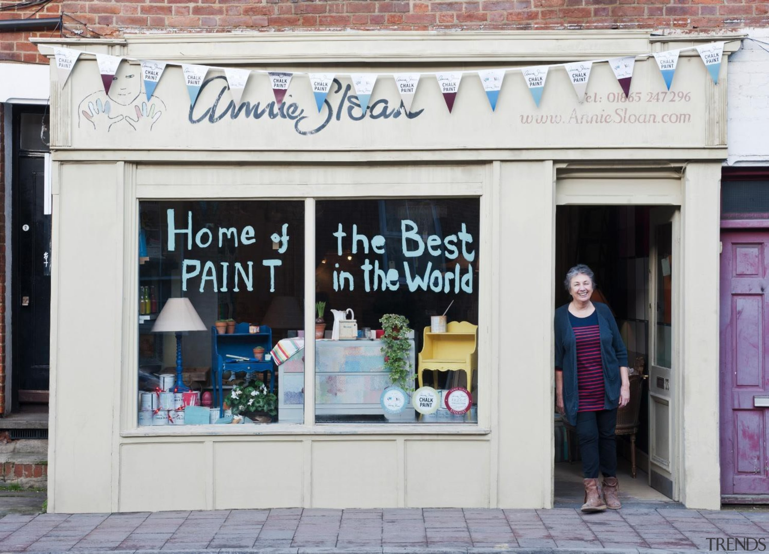 Known to many as the 'Queen of Paint', facade, retail, shopping, window, white, gray