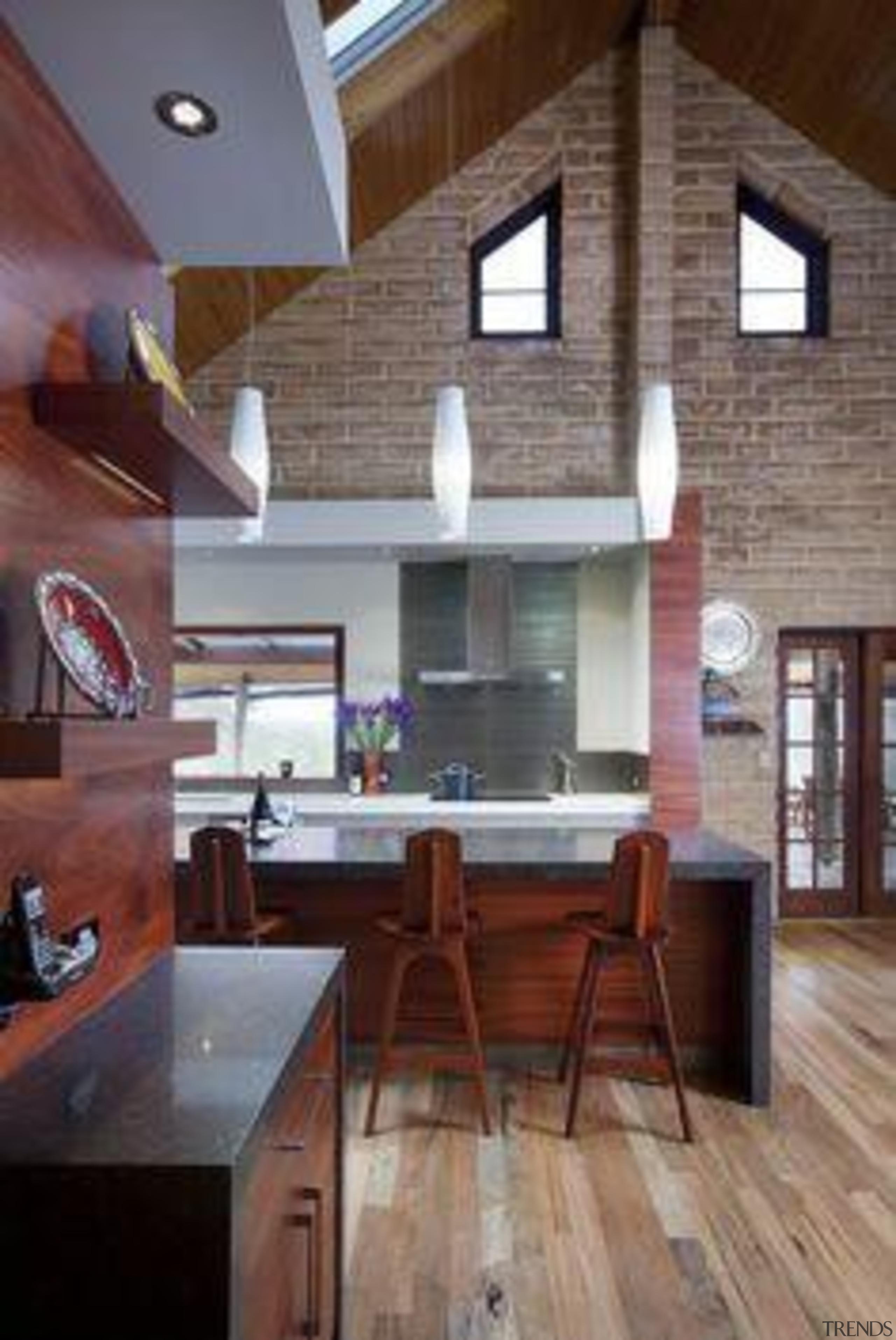 Alternative Kitchen Company Cocoa Fudge - Cocoa Fudge™ ceiling, daylighting, floor, flooring, hardwood, house, interior design, kitchen, living room, loft, room, wood, wood flooring, gray