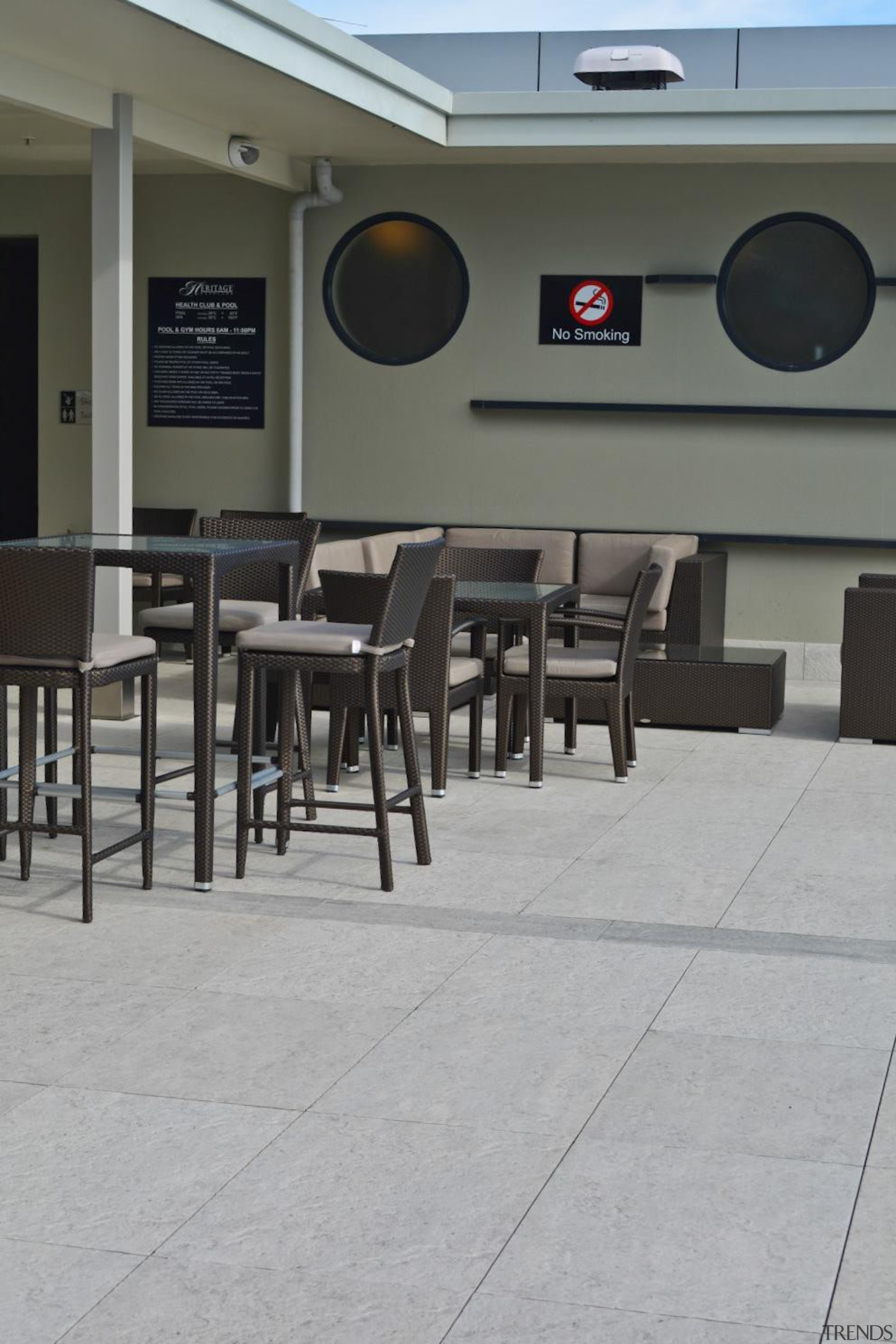 Tiles supplied by Heritage Tiles Commercial Division:900x600x20mm structural floor, flooring, table, gray