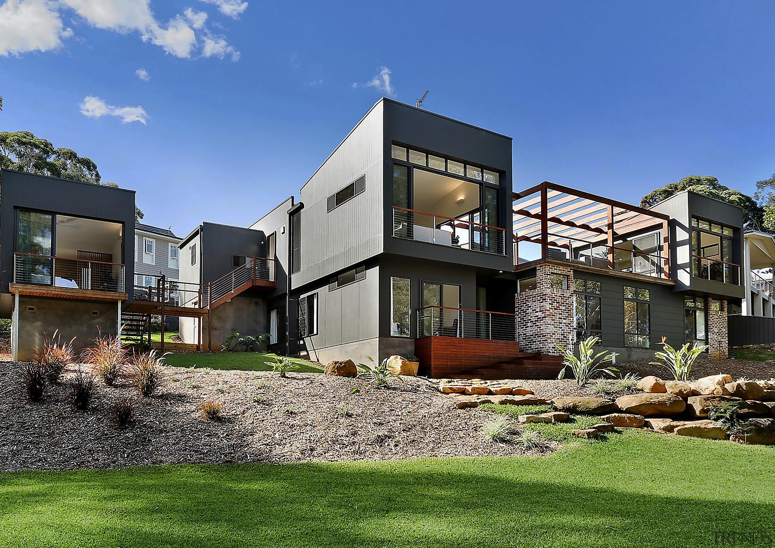Alex Urena Design Studio - Highly Commended – architecture, backyard, cottage, elevation, estate, facade, home, house, neighbourhood, property, real estate, residential area, villa, yard, blue
