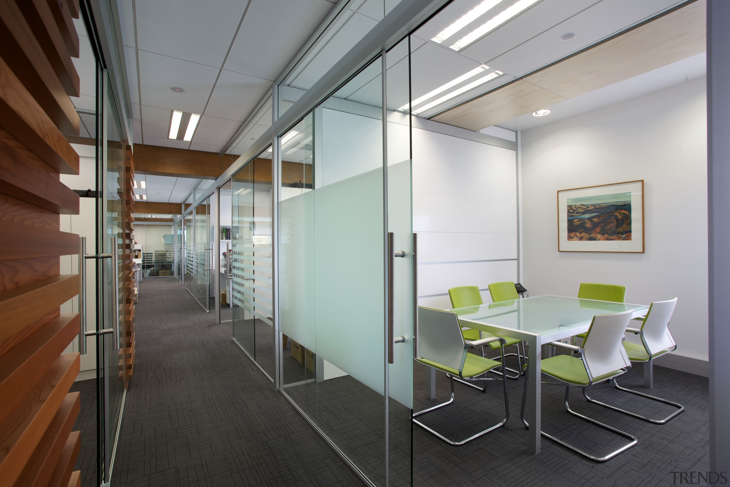 Timber battens and glass-walled meeting rooms are features architecture, ceiling, conference hall, daylighting, interior design, office, gray