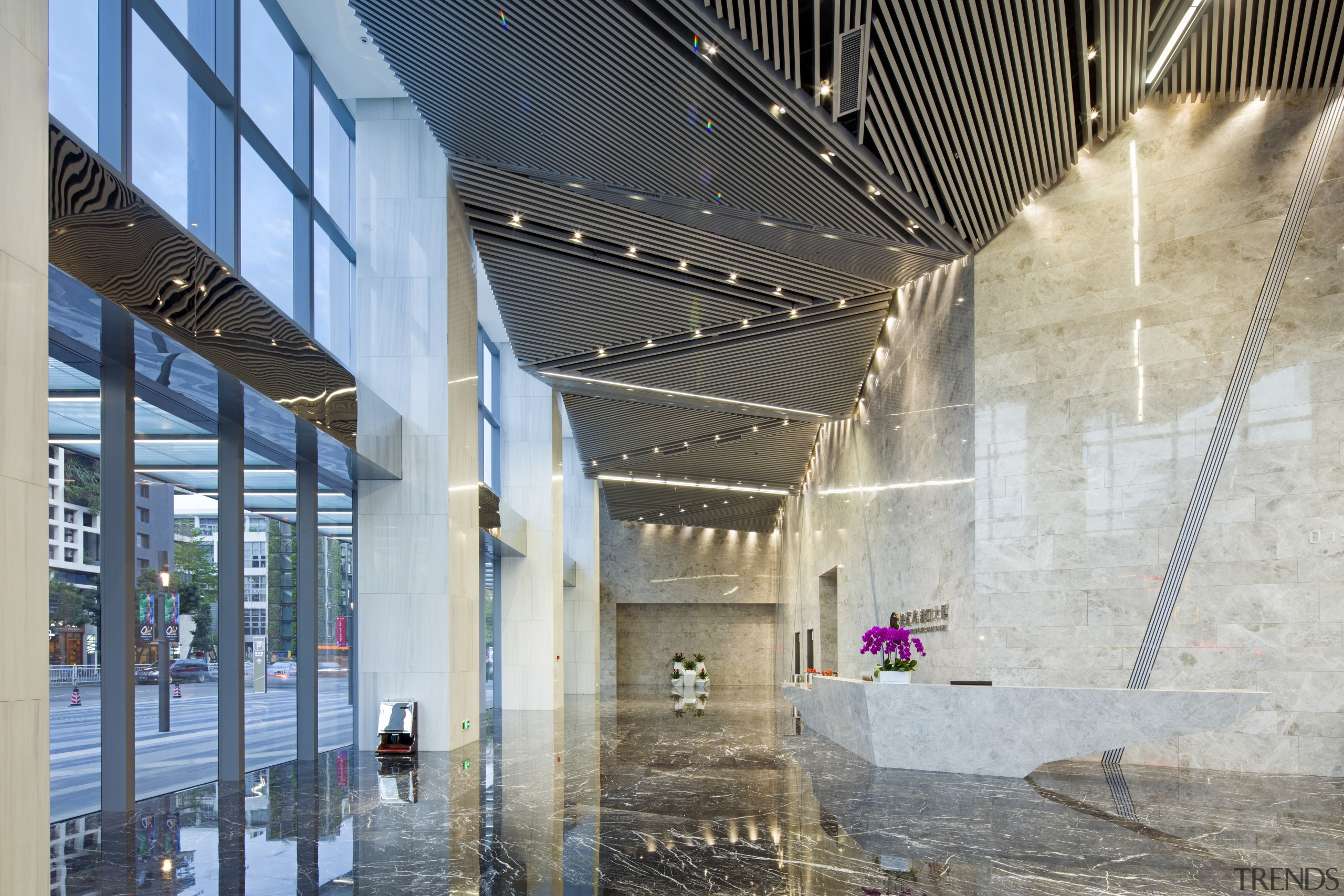 Granite-clad main reception area for the office component architecture, building, daylighting, lobby, structure, tourist attraction, gray