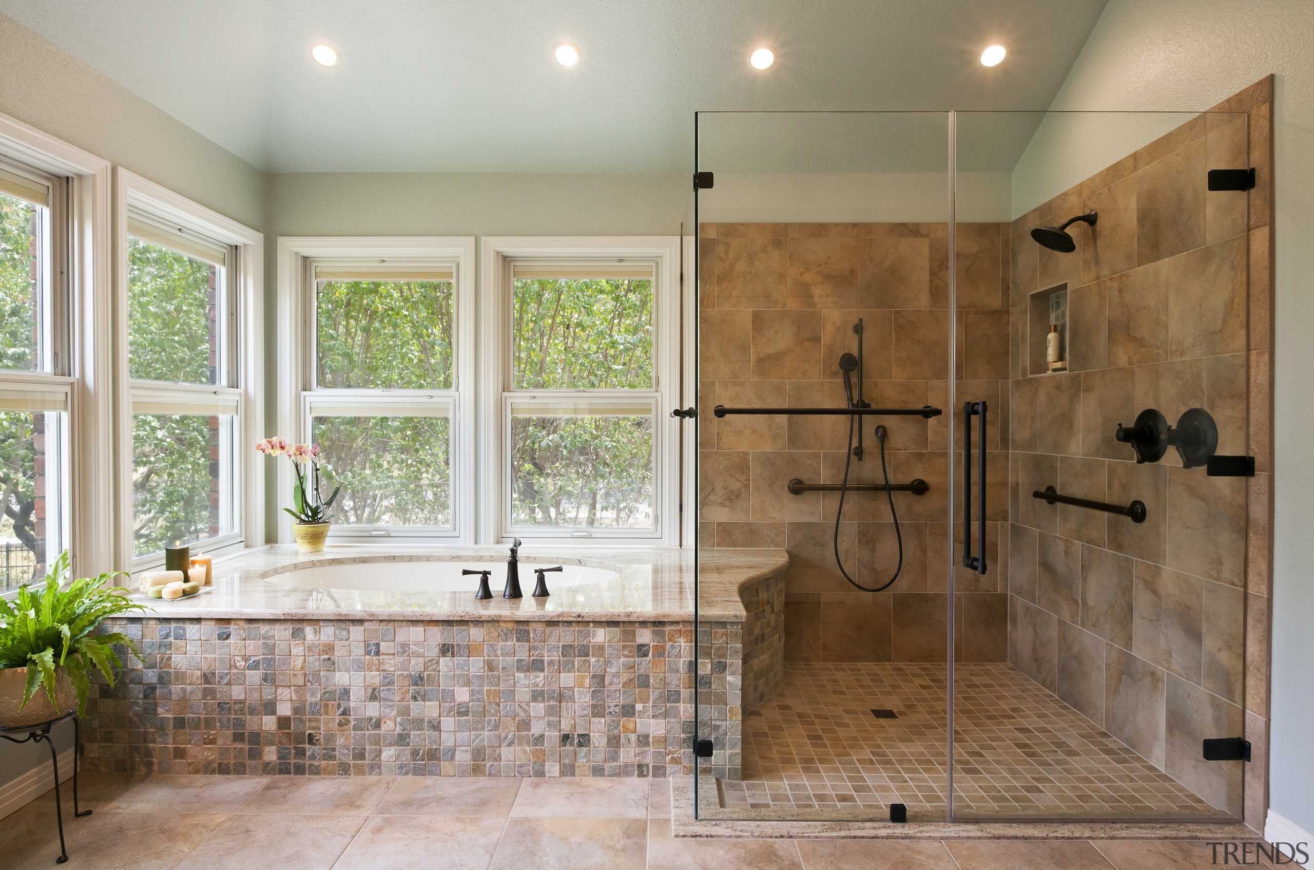 The threshold of this shower was lowered to bathroom, countertop, estate, floor, flooring, home, interior design, plumbing fixture, room, tile, wall, gray, brown