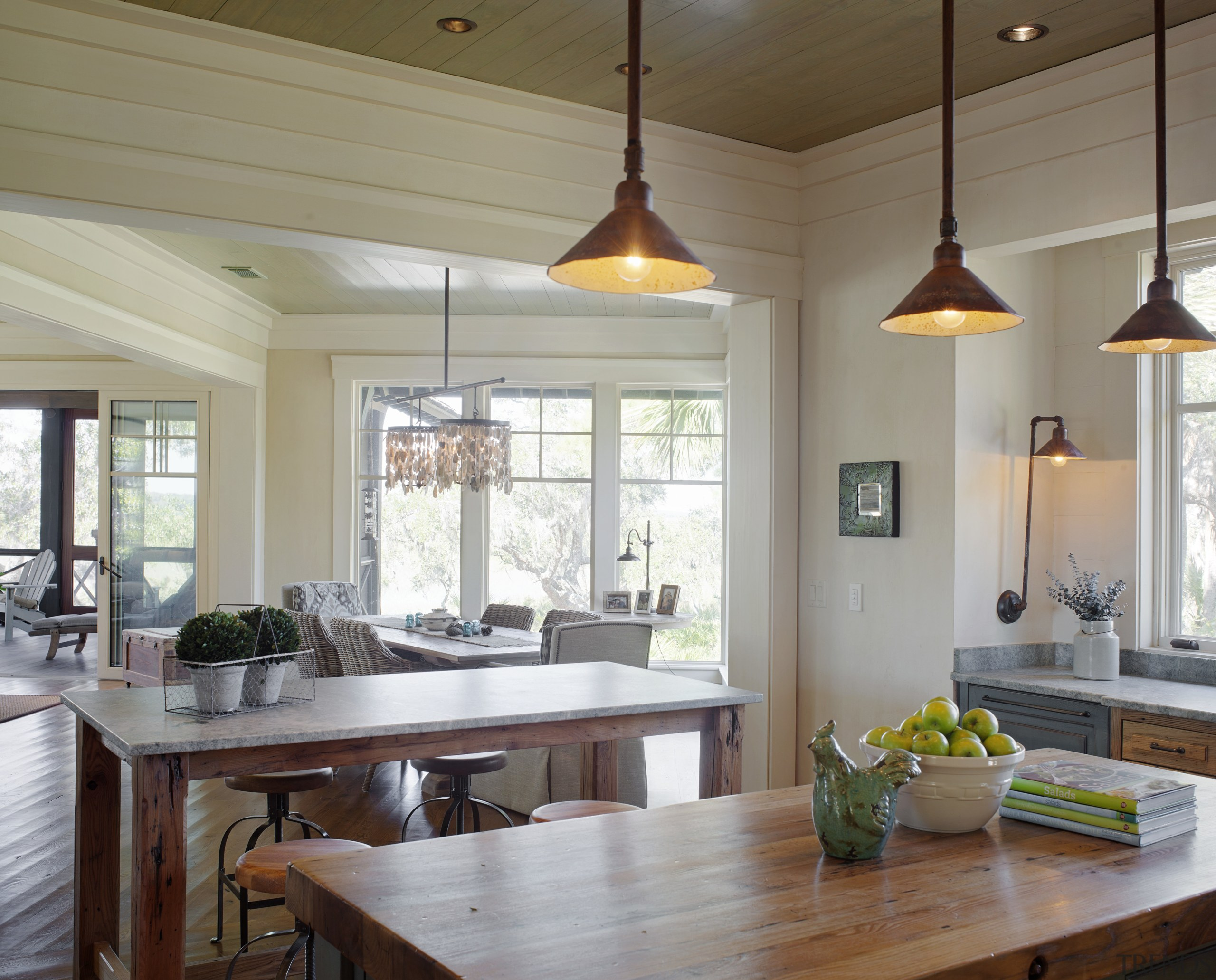 There are views through the house to the ceiling, countertop, dining room, home, interior design, kitchen, living room, real estate, room, table, window, gray
