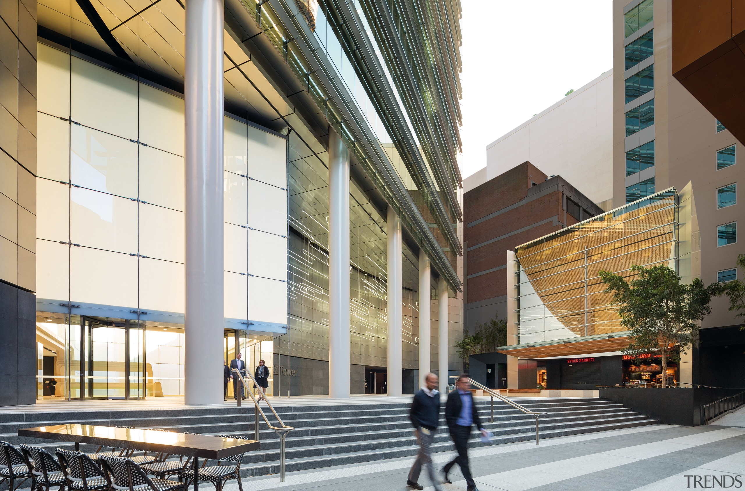 Paving with alternating bands of light and dark architecture, building, commercial building, condominium, corporate headquarters, daylighting, facade, lobby, metropolitan area, mixed use, gray, white