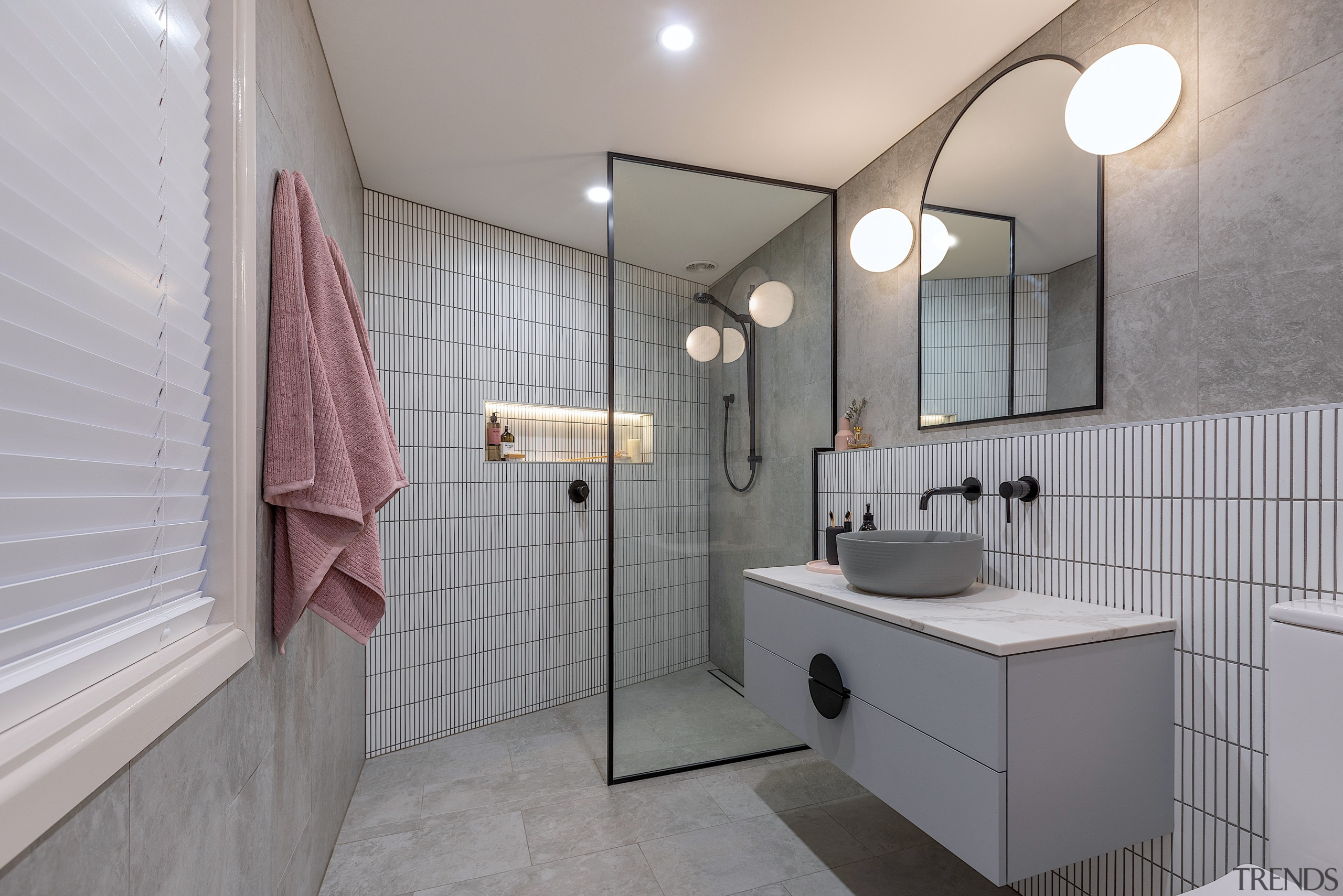 This stylish bathroom ticks all the on-trend boxes
