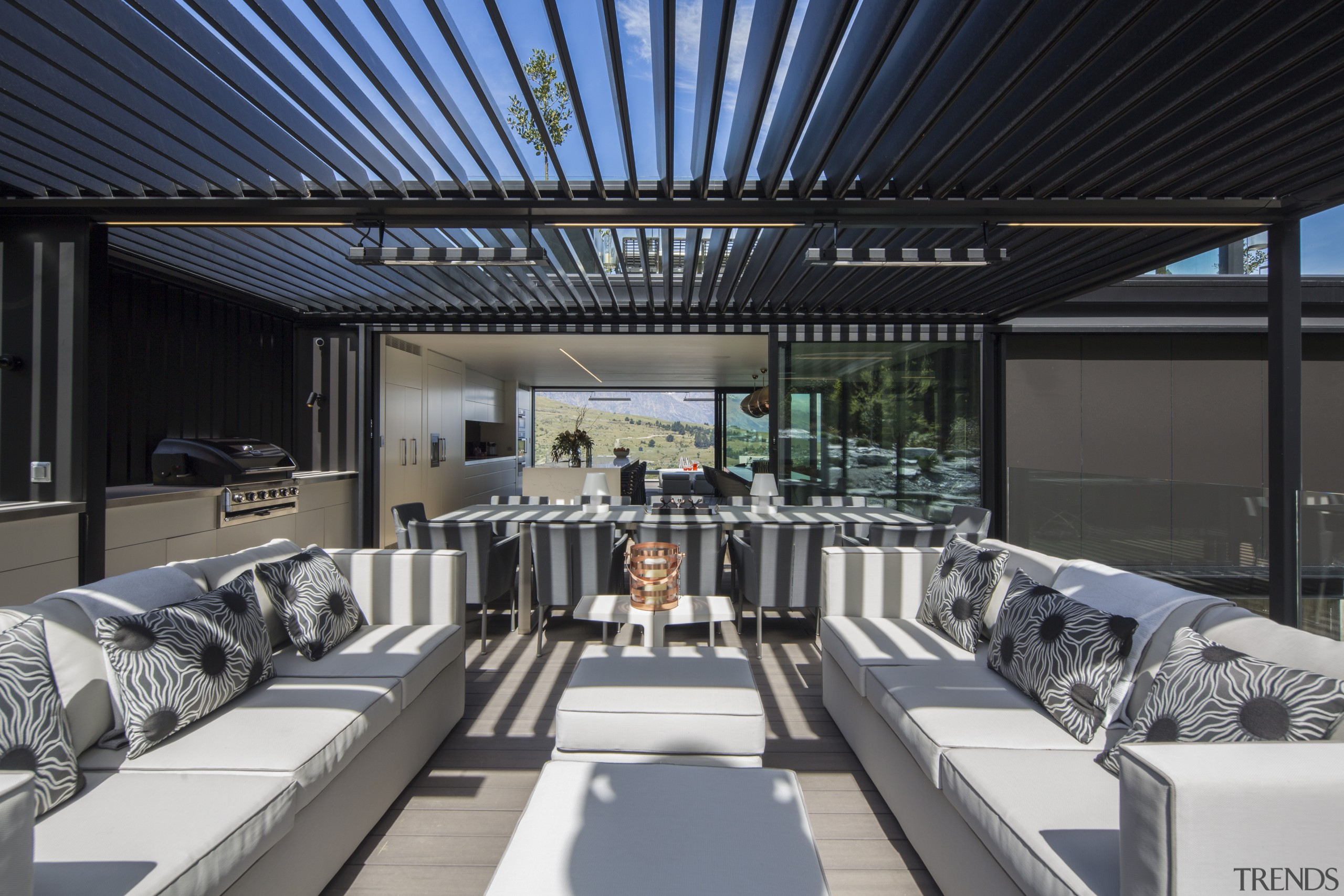 An outdoor barbecue and pizza area continues on architecture, interior design, Gary Todd Architecture, outdoor area, louvred roof