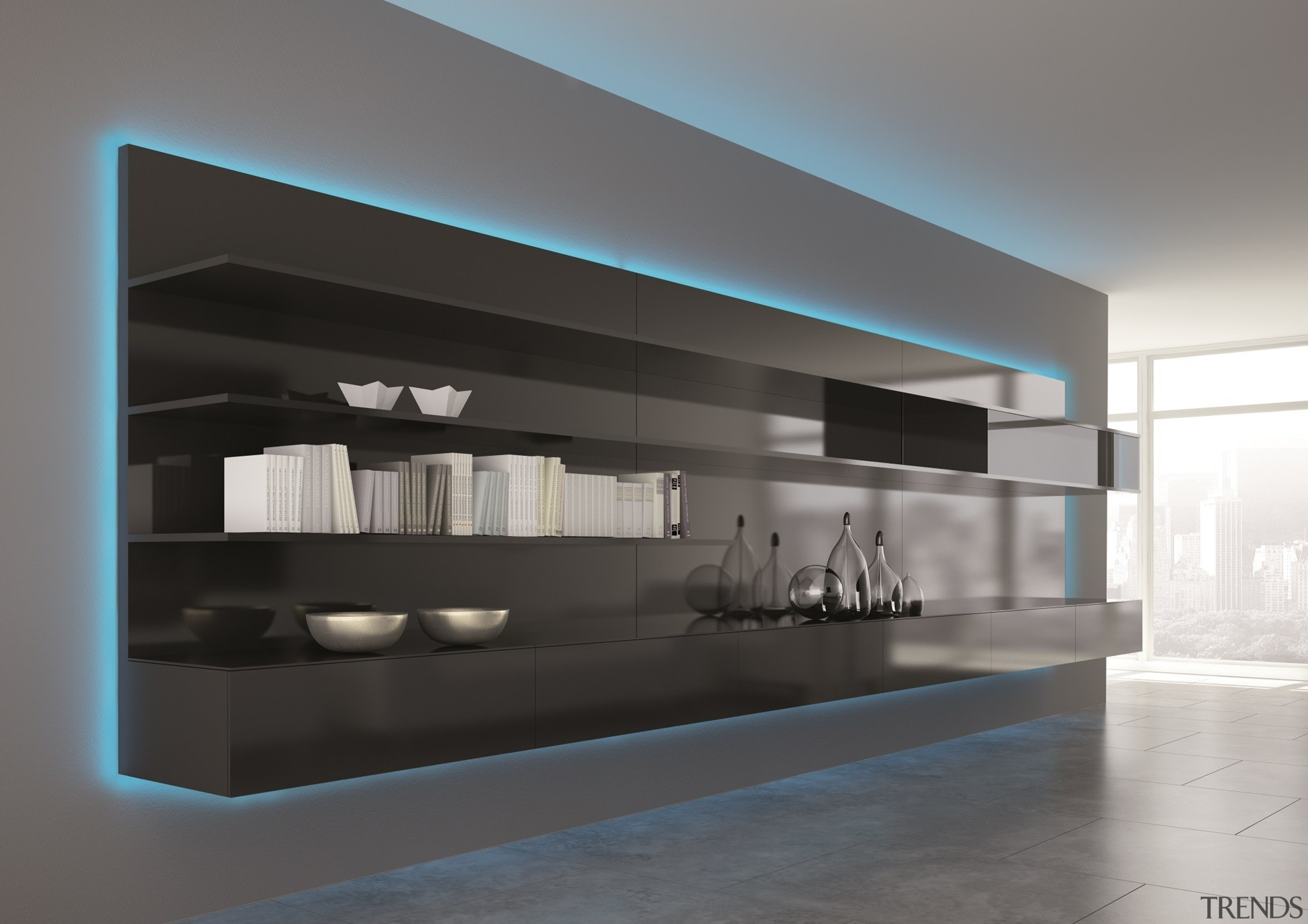 Colour changing sequences have never been easier than furniture, interior design, shelf, gray, black