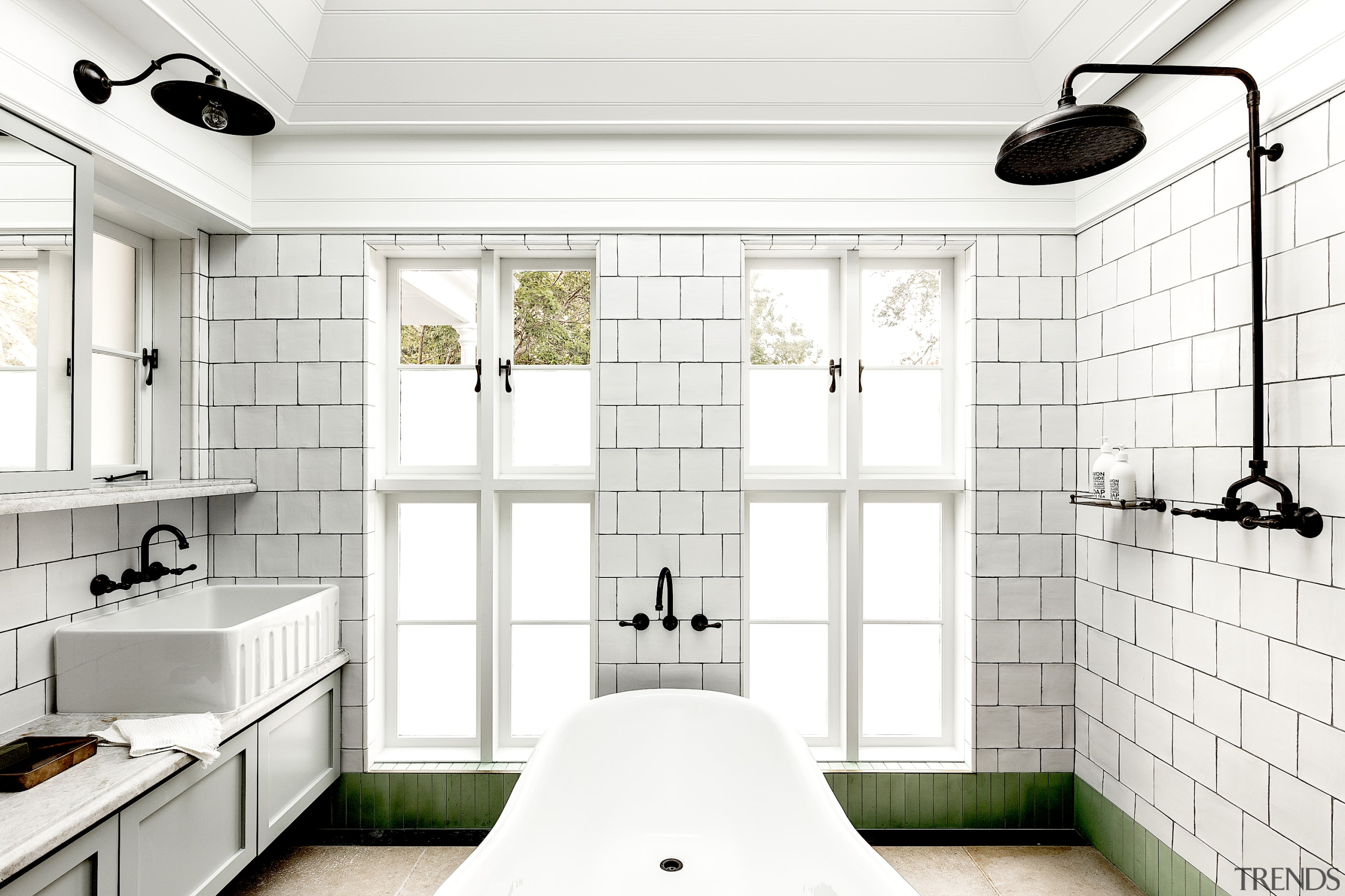 The family bathroom was designed as an abstract white