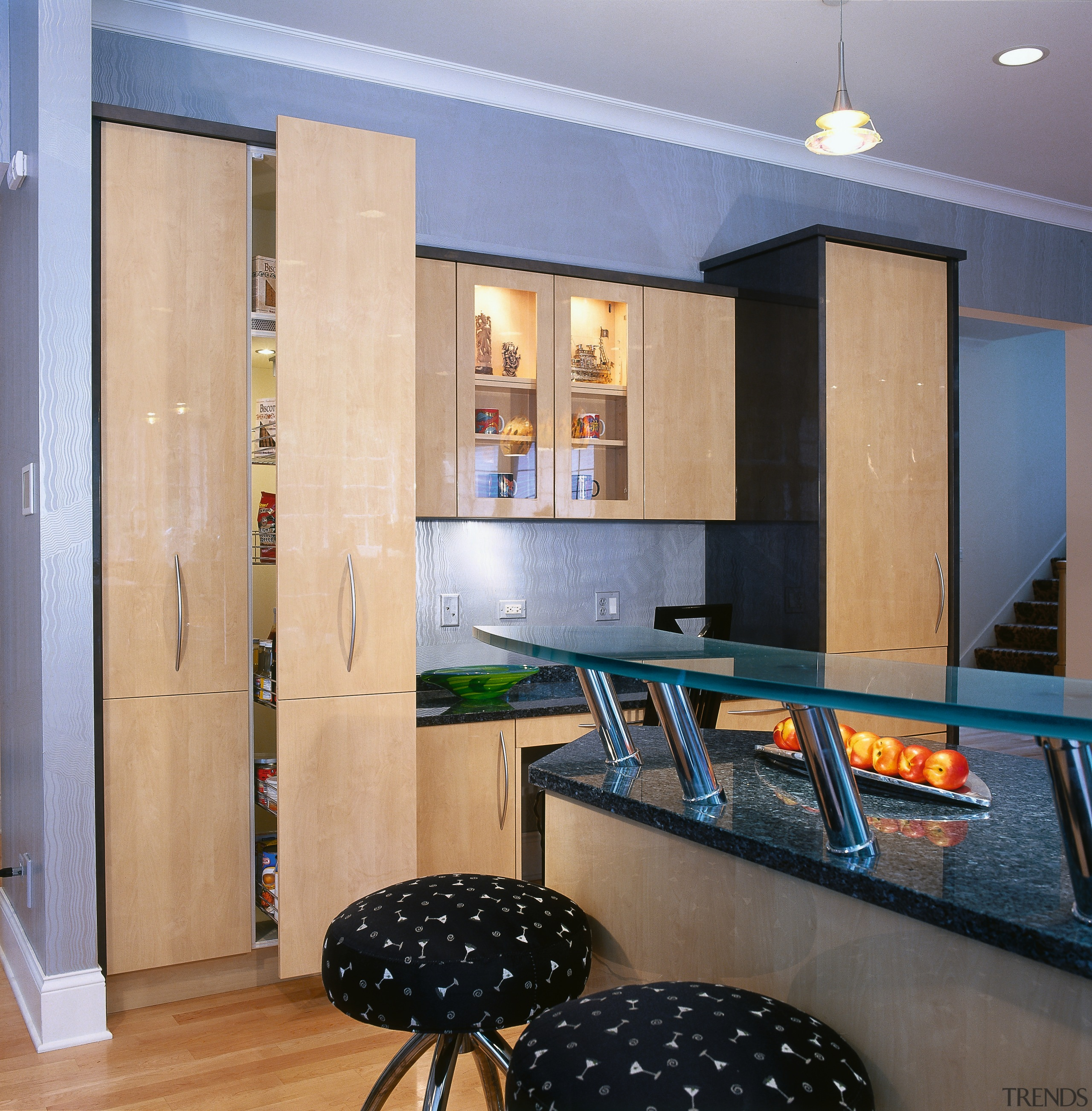Close view of the kitchen's cabinetry - Close ceiling, countertop, floor, flooring, interior design, kitchen, living room, room, wall, orange