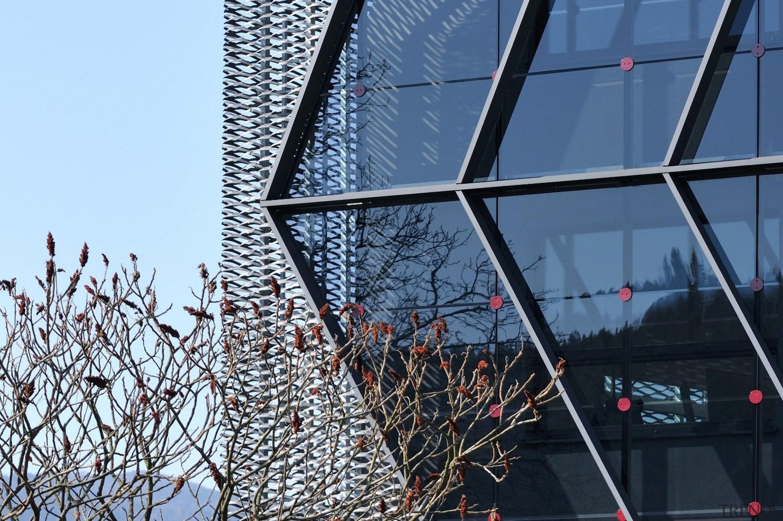 Architect: SuperformPhotography by Miran Kambič architecture, building, city, daytime, facade, metropolis, metropolitan area, reflection, sky, skyscraper, structure, tourist attraction, tree, urban area, window, black, teal, blue