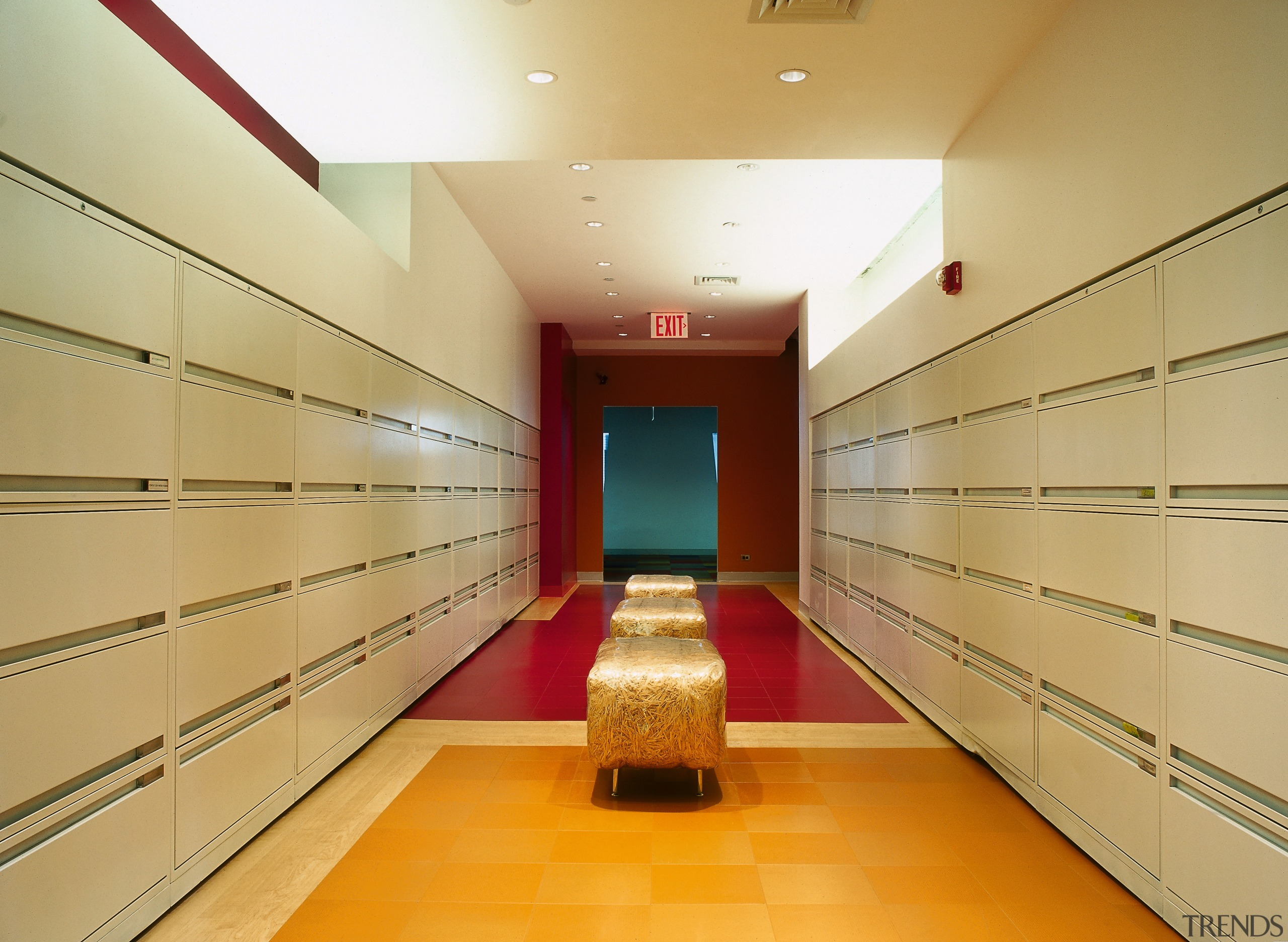 A view of the filing room, many filing architecture, ceiling, floor, interior design, lobby, room, orange
