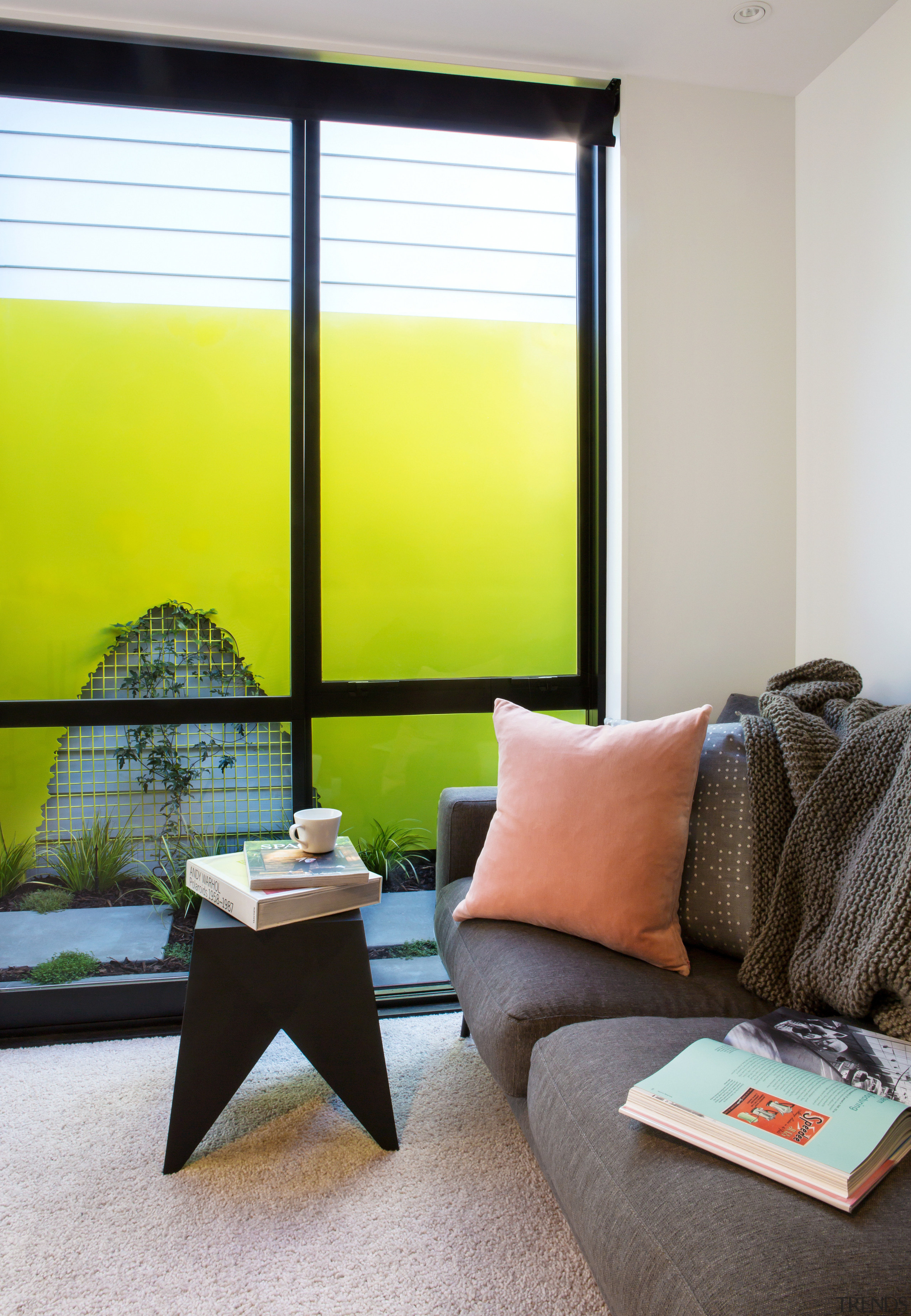 As well as enjoying views to the rear furniture, home, house, interior design, living room, room, table, window, window blind, window covering, window treatment, yellow, gray