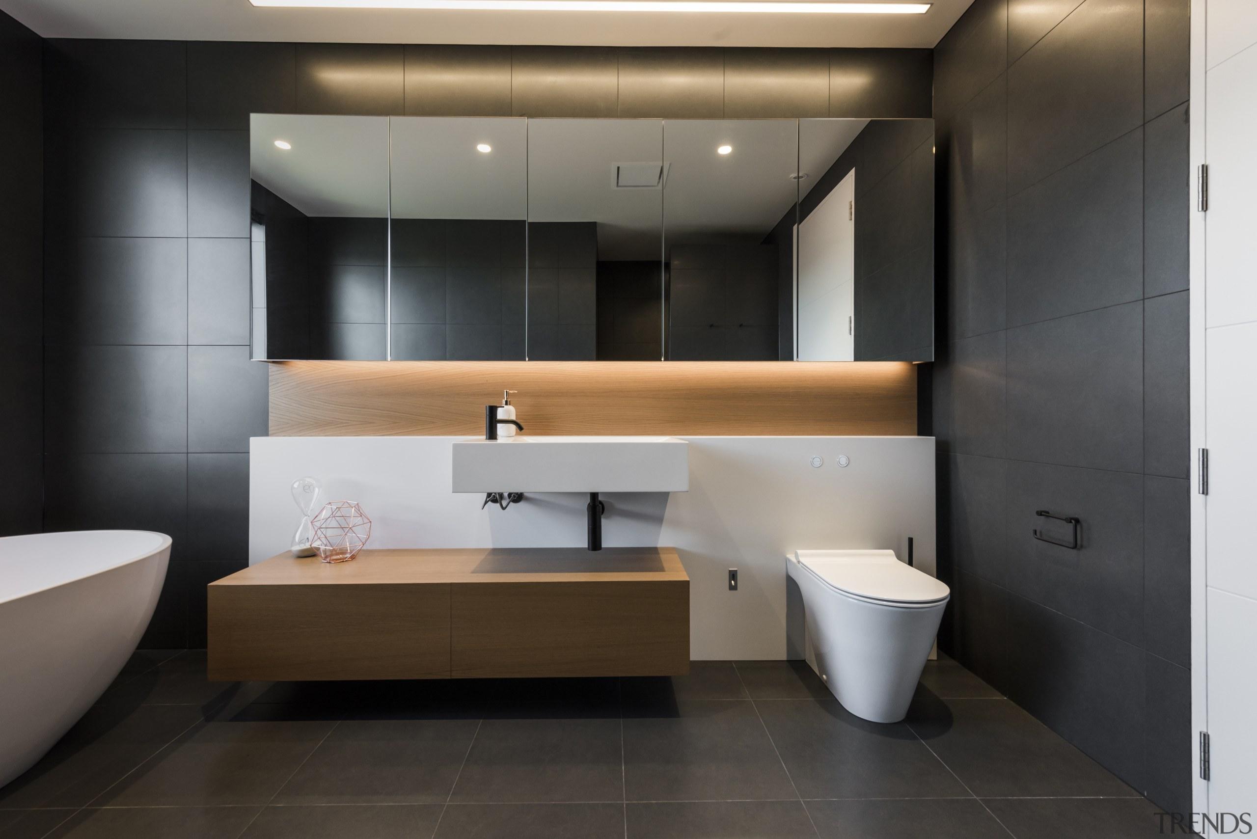 Detail by Davinia Sutton – Runner-up – TIDA bathroom, floor, flooring, interior design, room, sink, black, gray