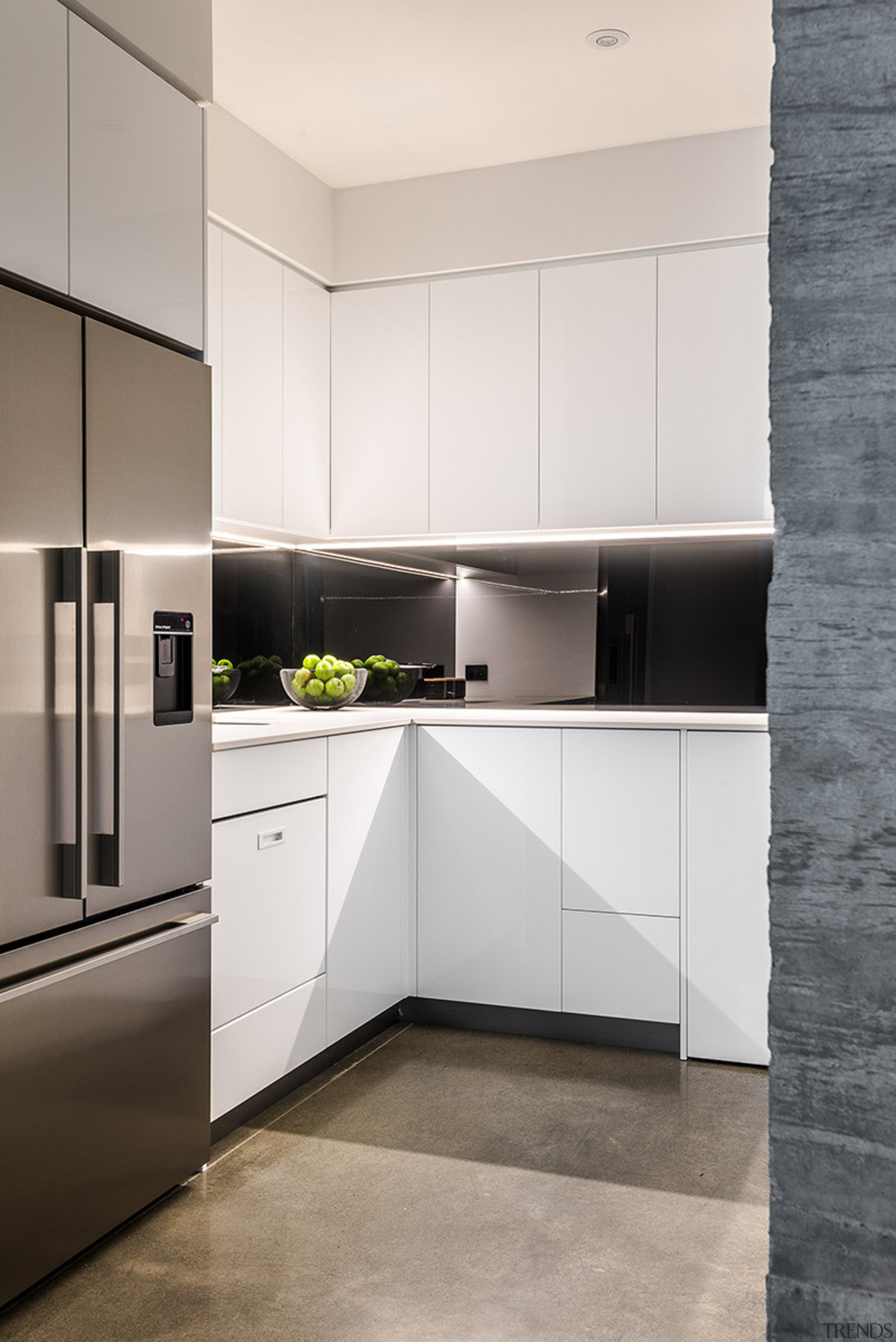 A large walk-in pantry in this new kitchen cabinetry, countertop, floor, home appliance, interior design, kitchen, white, gray