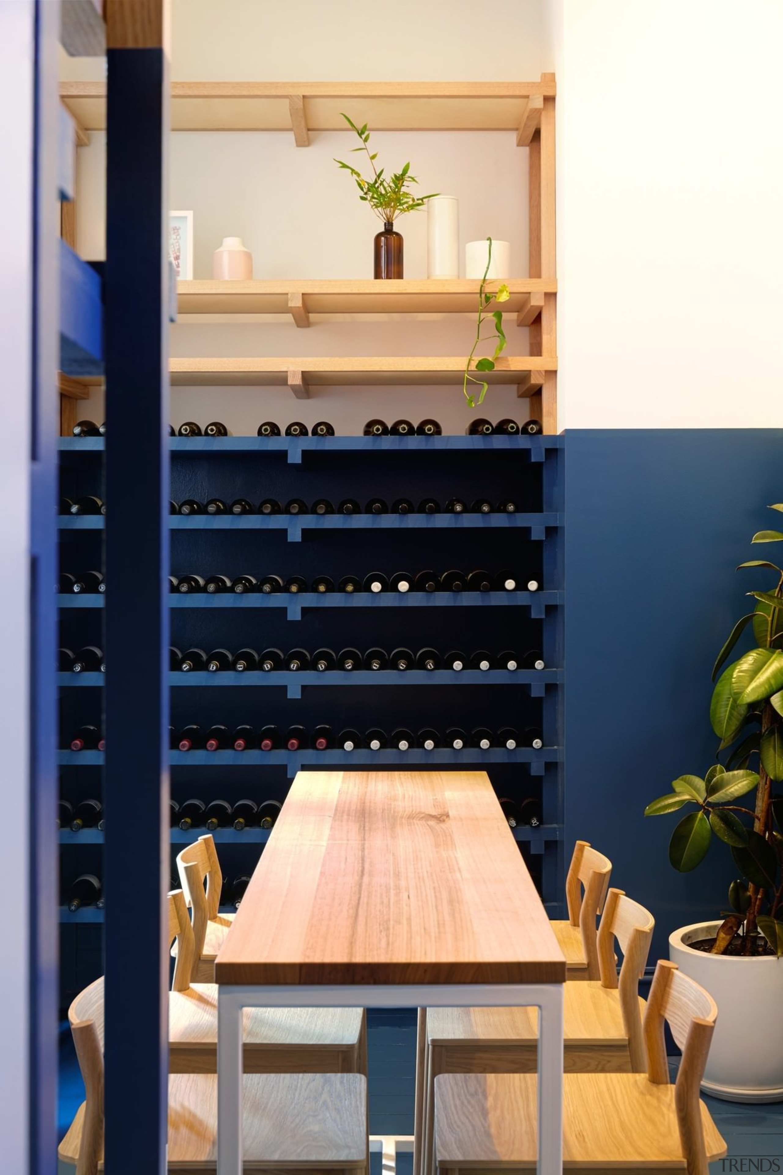 Architect: Studio GramPhotography by Jonathan VDK furniture, interior design, shelf, shelving, table, wood, blue
