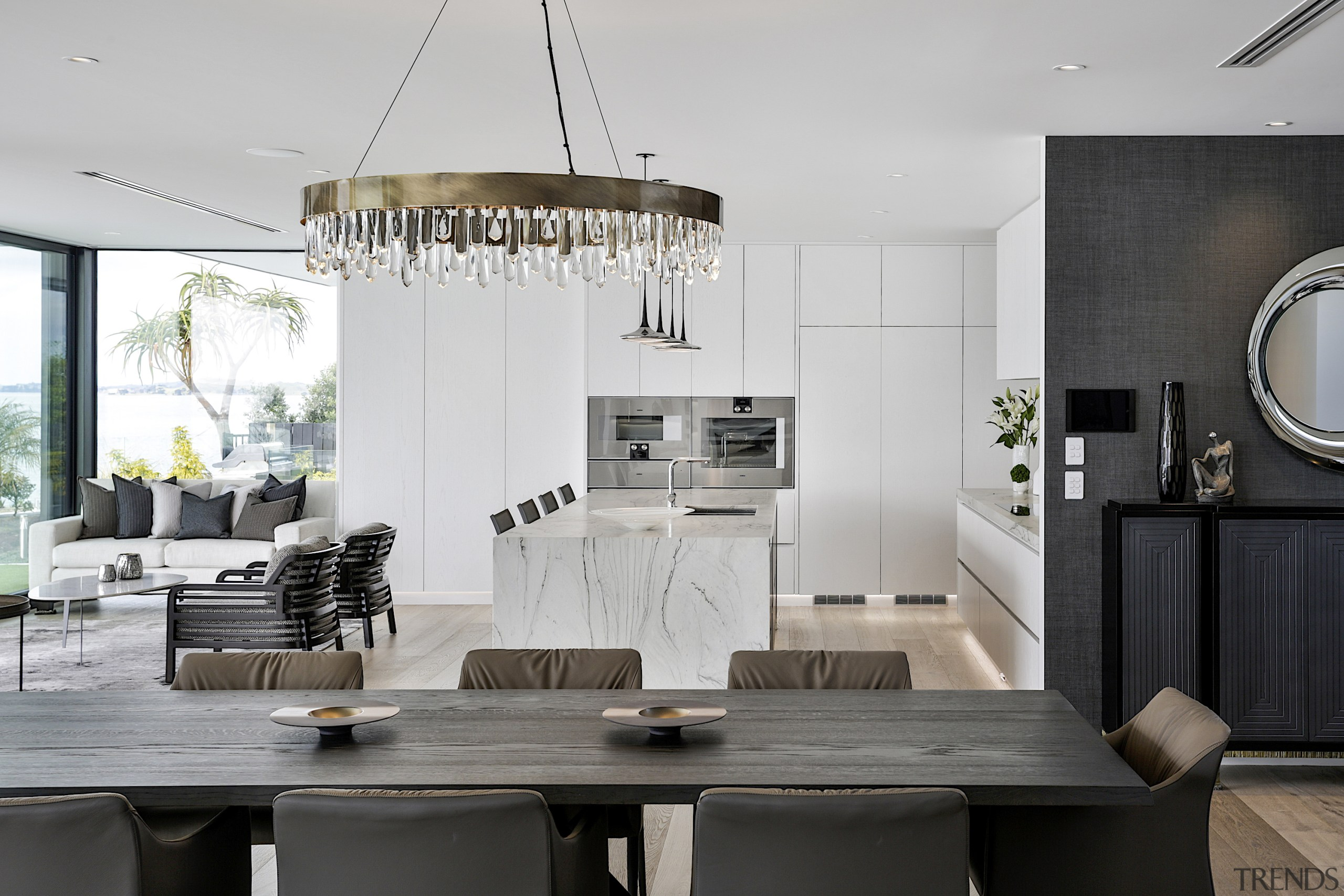 With the kitchen able to be viewed from gray, black