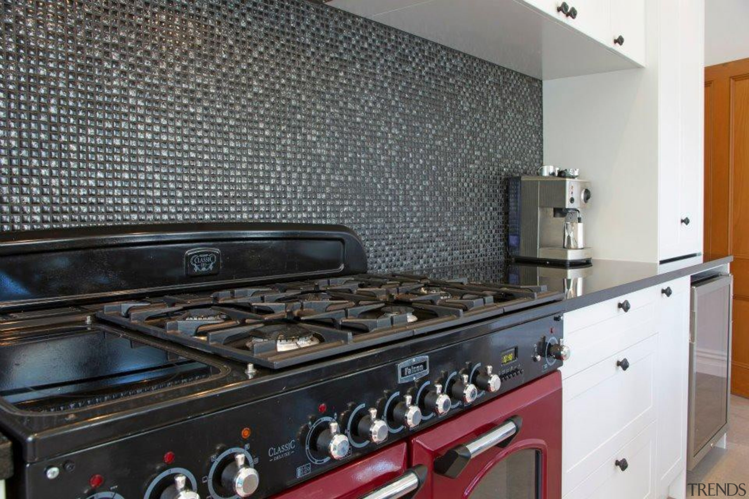 falcon range, glass mosaic tile splashback - Voyles countertop, flooring, home appliance, kitchen, kitchen appliance, kitchen stove, major appliance, black, gray