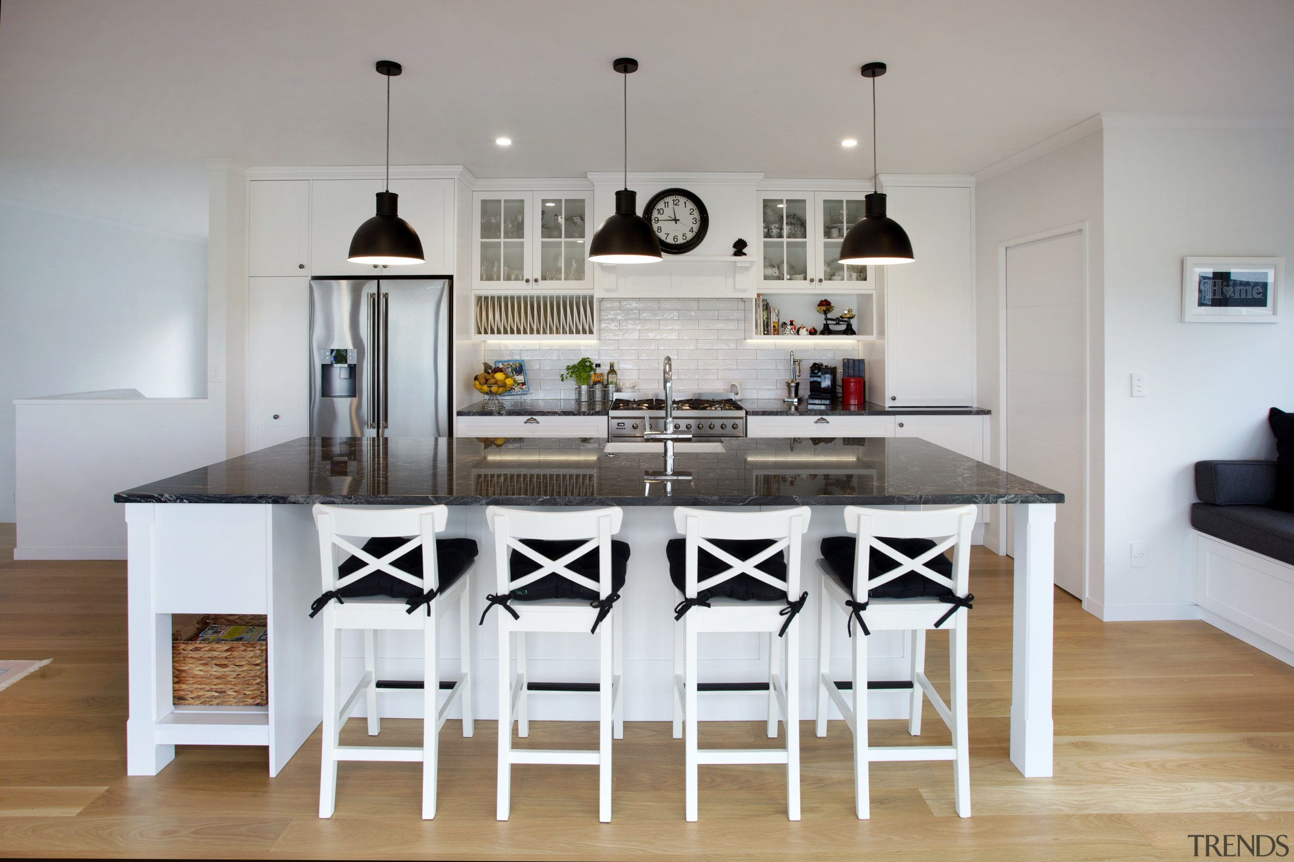At your service  everything is immediately to chair, countertop, cuisine classique, dining room, furniture, interior design, kitchen, room, table, gray