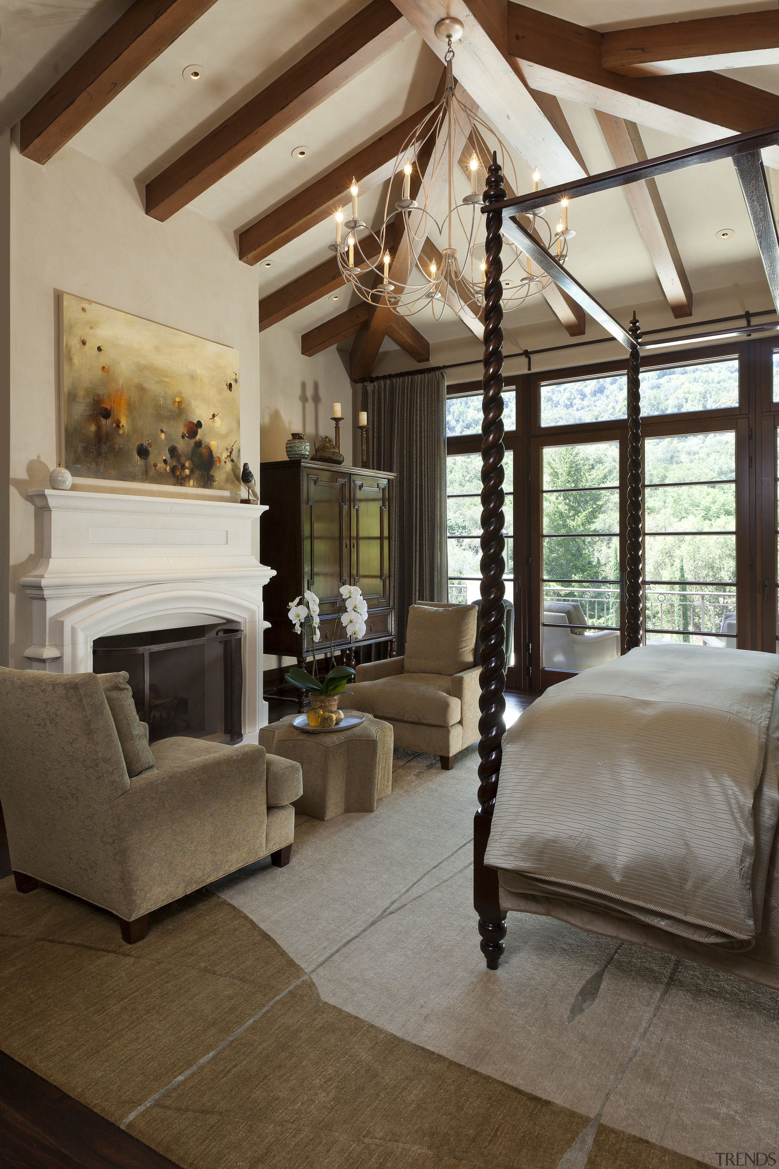The master bedroom in this Mediterranean Californian home ceiling, floor, home, interior design, living room, room, window, brown, gray