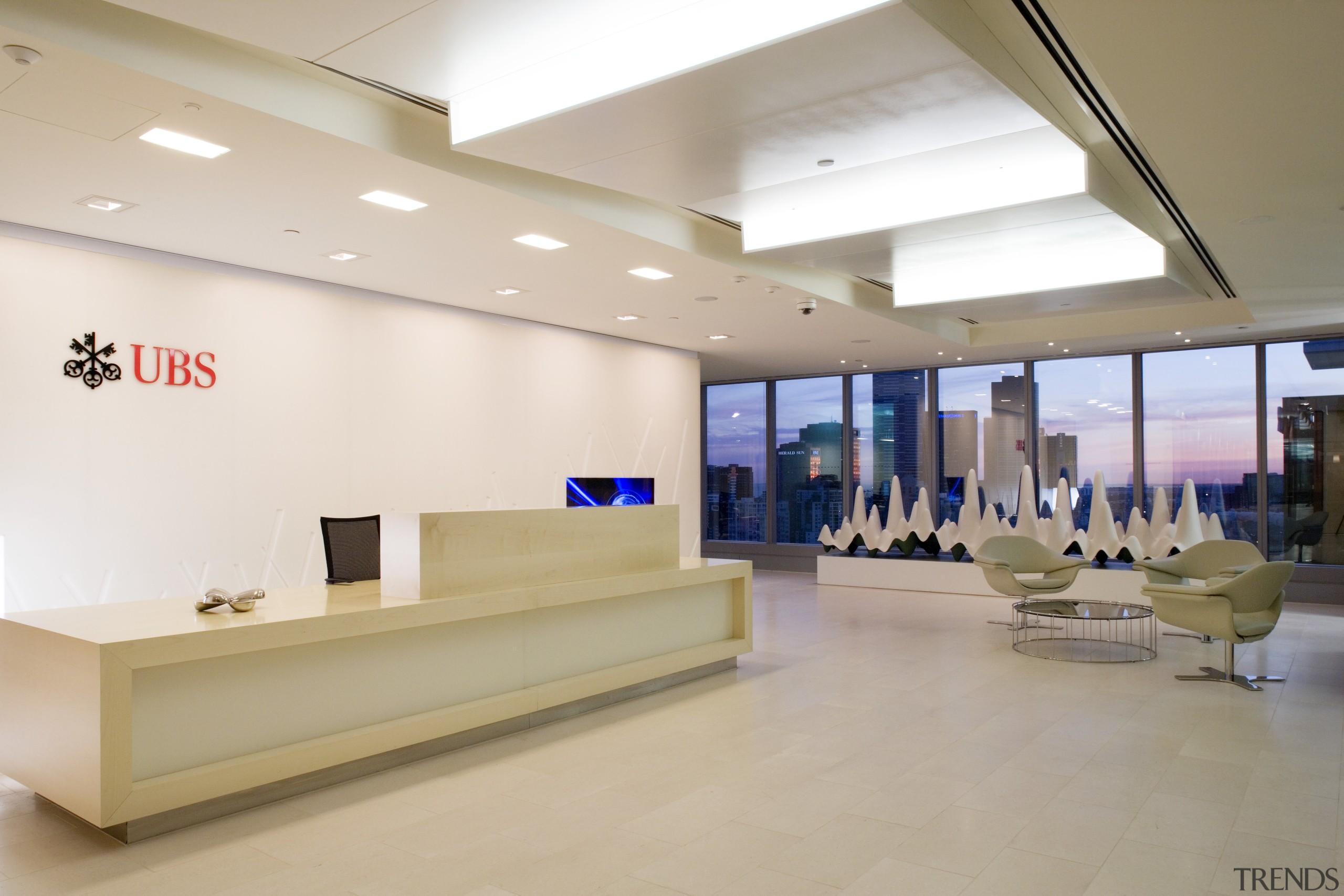 Sculptrural artwork and furniture help define the recption ceiling, exhibition, floor, flooring, interior design, lobby, product design, gray