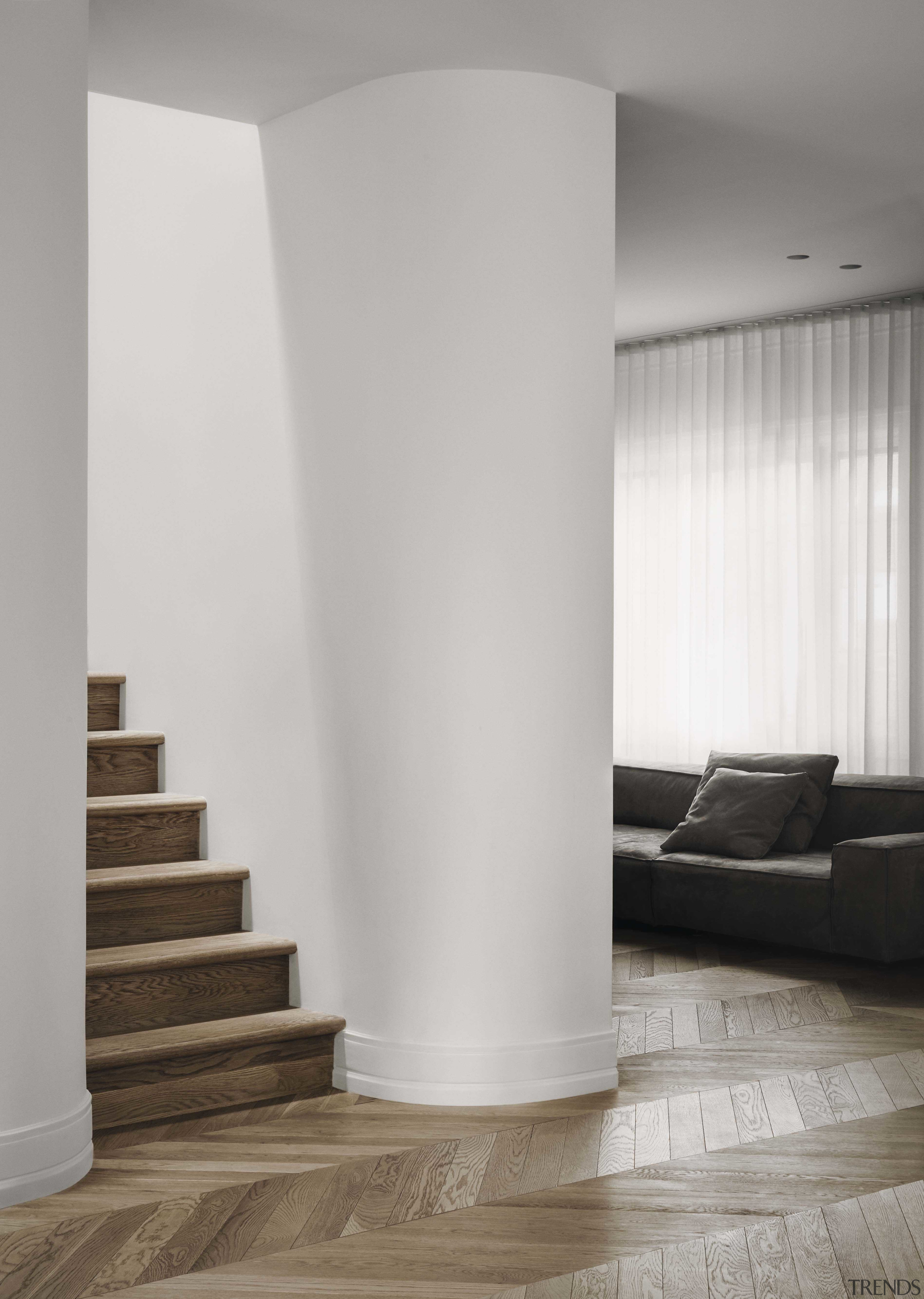 Notable interior architectural details include carefully selected materials,
