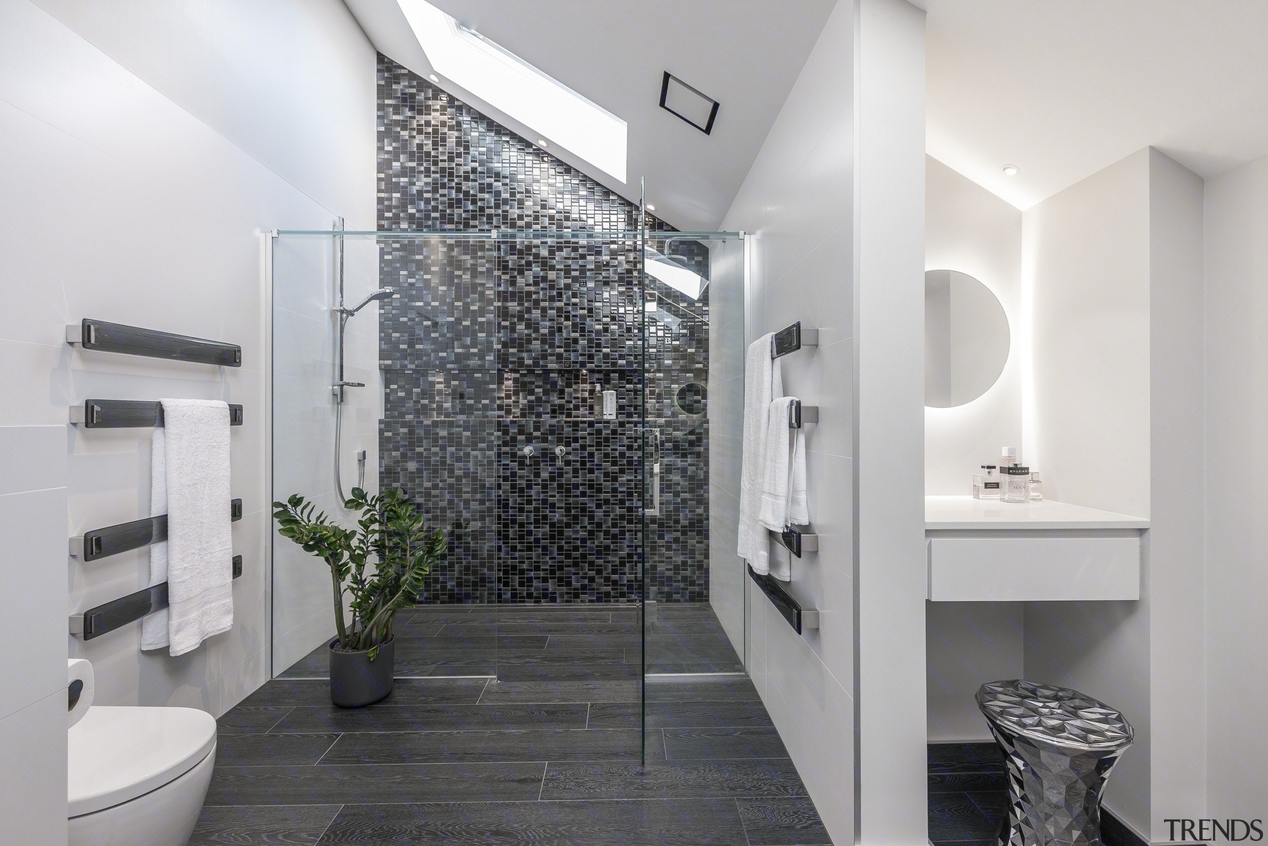 See more here architecture, bathroom, floor, home, interior design, real estate, room, tile, wall, white, gray