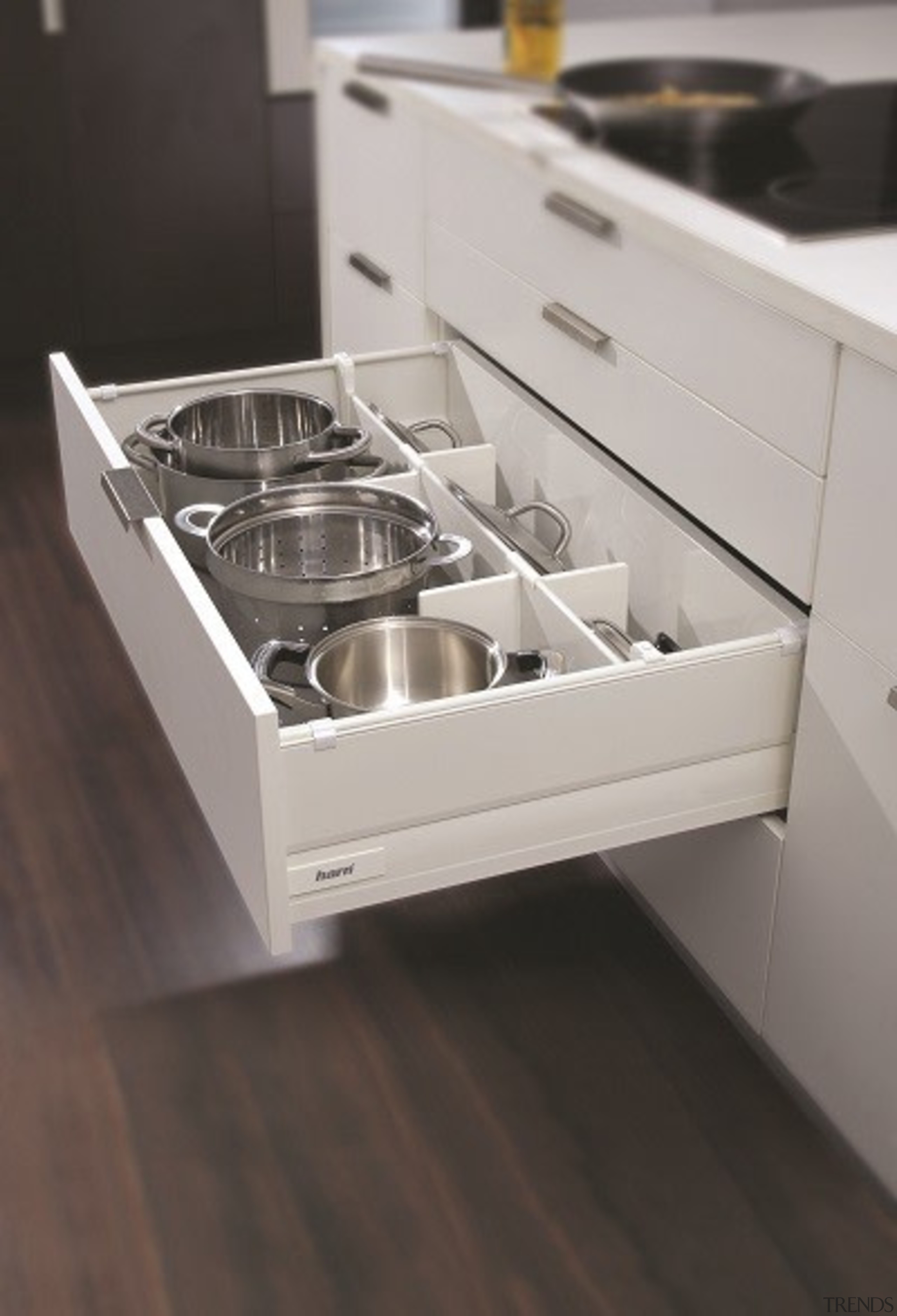 Kits attach to your own drawer fronts and countertop, drawer, furniture, kitchen, product design, sink, gray, black