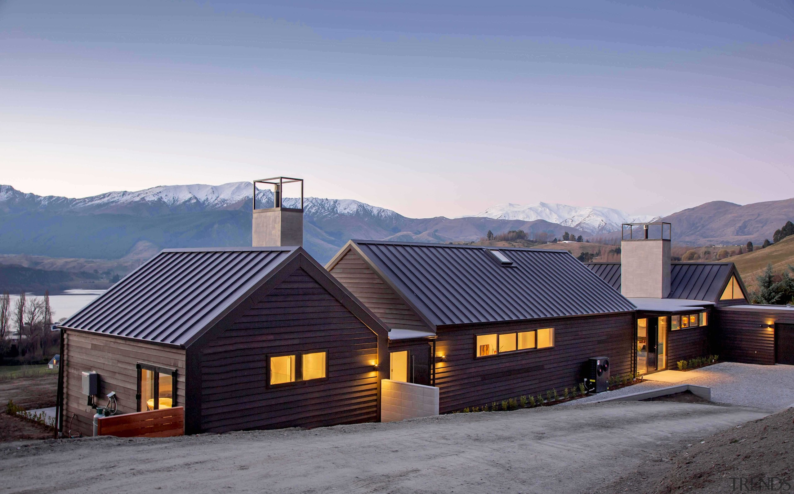 Hofmans Architects / David Reid Homes Queenstown  – architecture, building, cloud, cottage, estate, farmhouse, fell, highland, hill station, home, house, landscape, log cabin, mountain, mountain range, property, real estate, residential area, roof, rural area, siding, sky, snow, tree, vacation, winter, teal