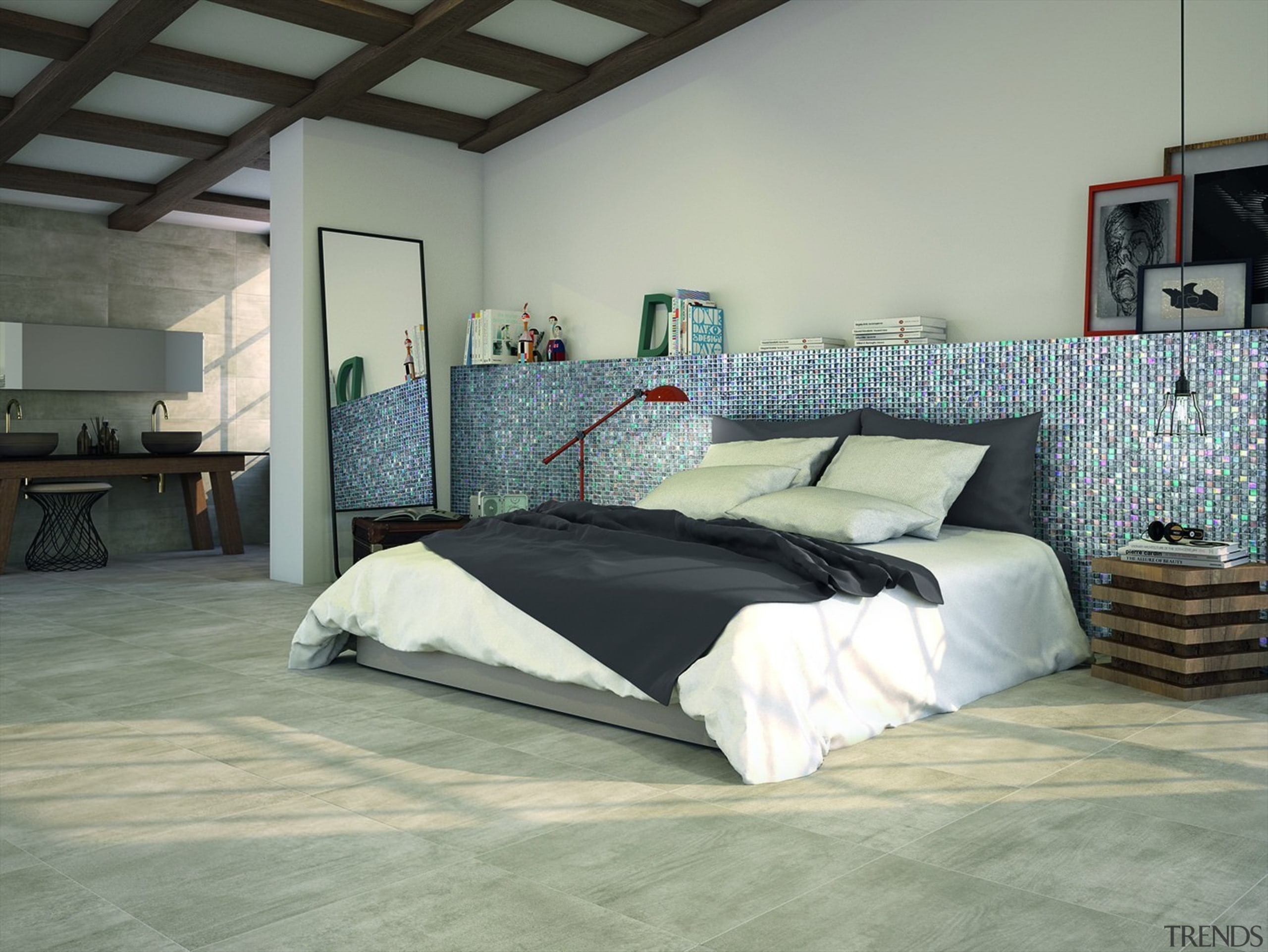 Mosaic tiles are the perfect addition to any bed, bed frame, bed sheet, bedroom, floor, flooring, furniture, interior design, mattress, room, wall, wood, gray