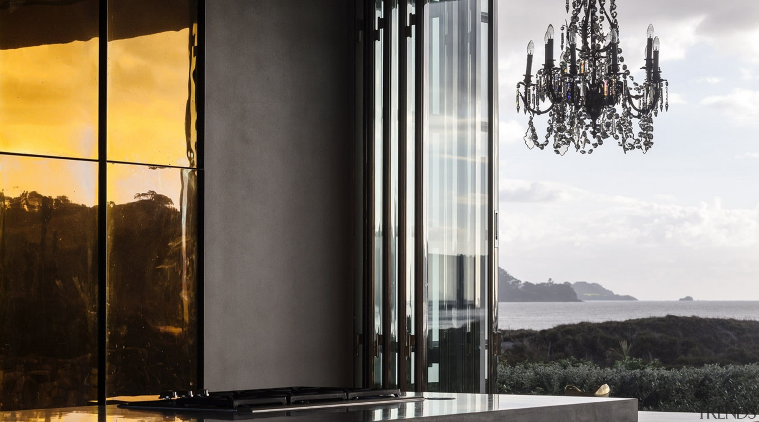 Winner of the Villa Category at the World building, glass, lighting, reflection, sky, window, black, white