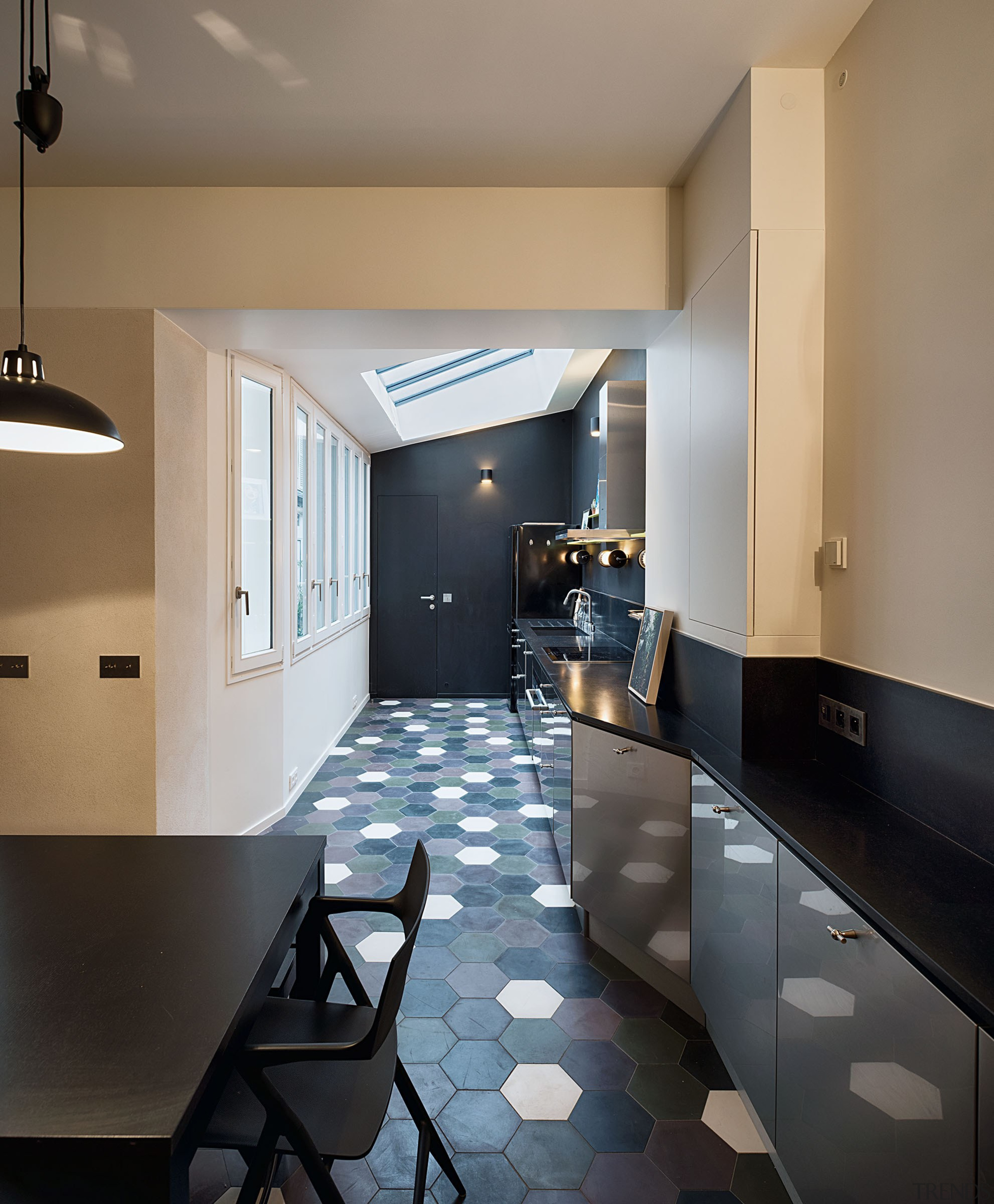 Dining room and kitchen, steel and stainless steel apartment, architecture, building, cabinetry, ceiling, countertop, daylighting, design, floor, flooring, furniture, home, house, interior design, kitchen, loft, property, real estate, room, tile, gray, black