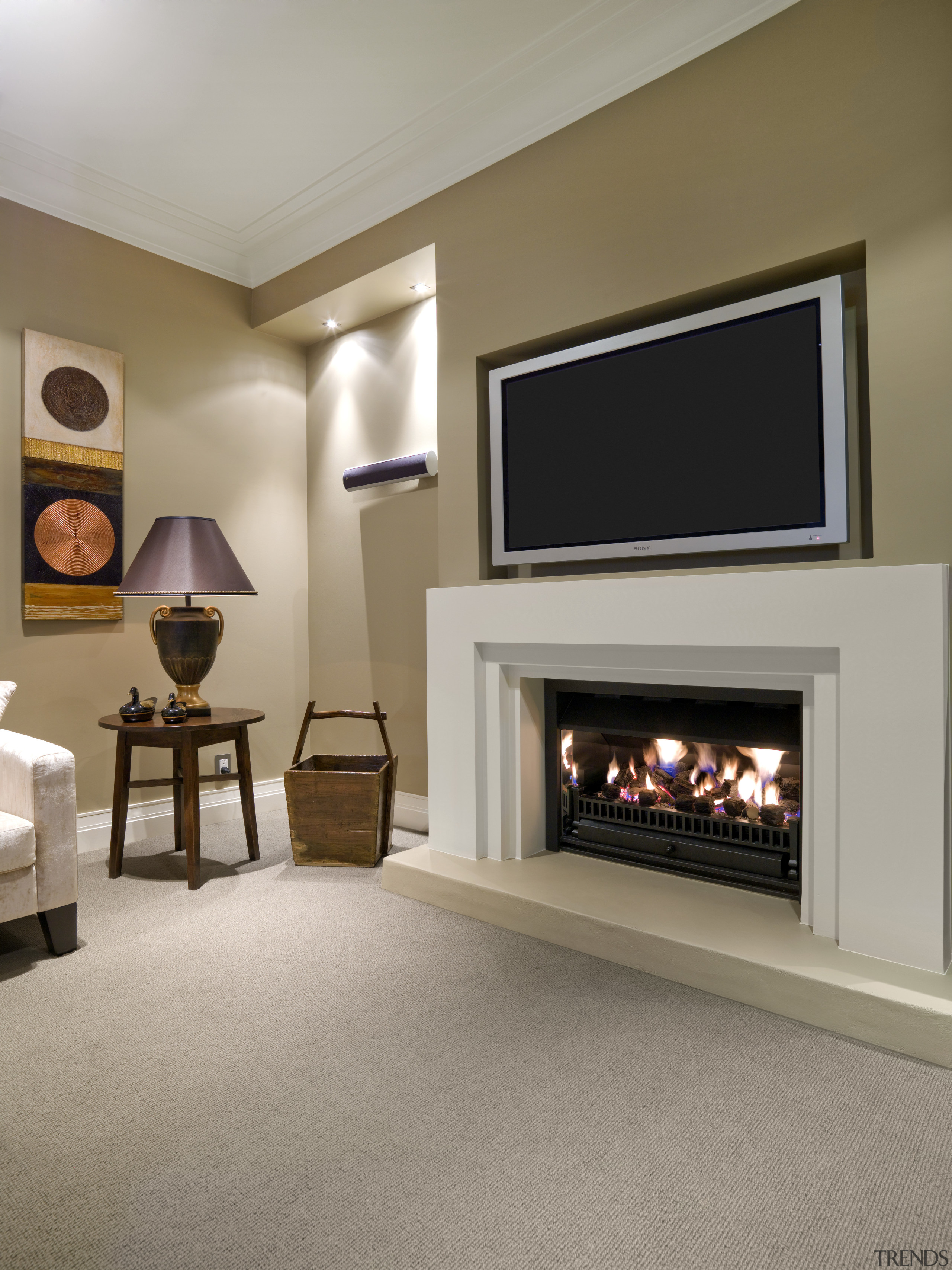 A view of some interior paints from Resene. fireplace, floor, flooring, hearth, home, interior design, living room, room, wood burning stove, gray, brown