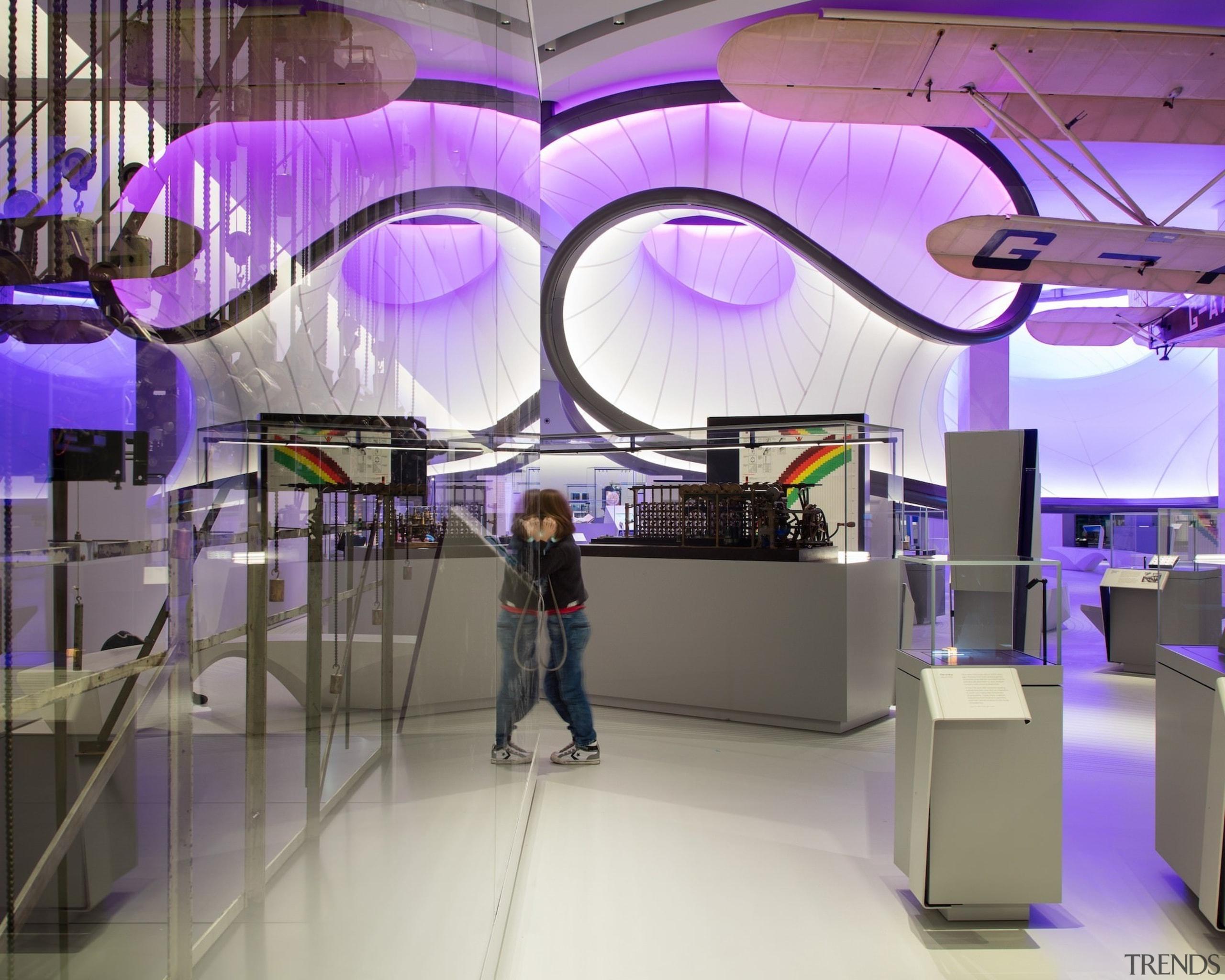 Zaha Hadid – Mathematics: The Winton Gallery – interior design, product design, purple, shopping mall, gray, purple