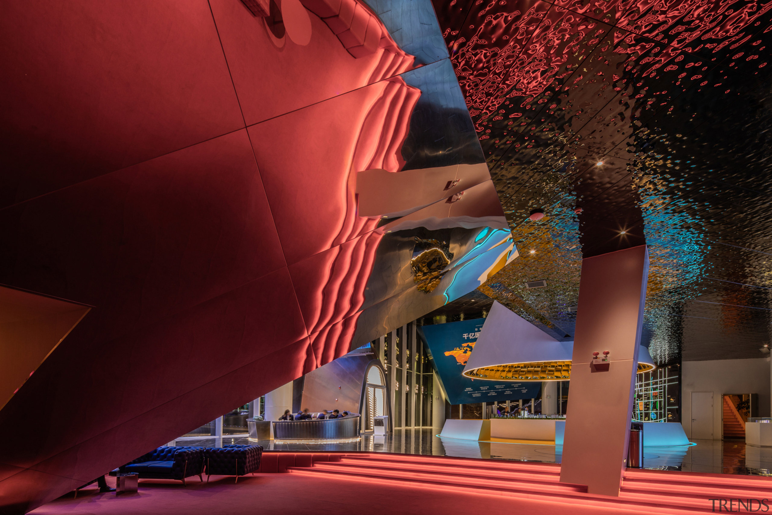 Objects floating in the air form a rich architecture, blue, building, ceiling, city, landmark, night, pink, red, sky, red
