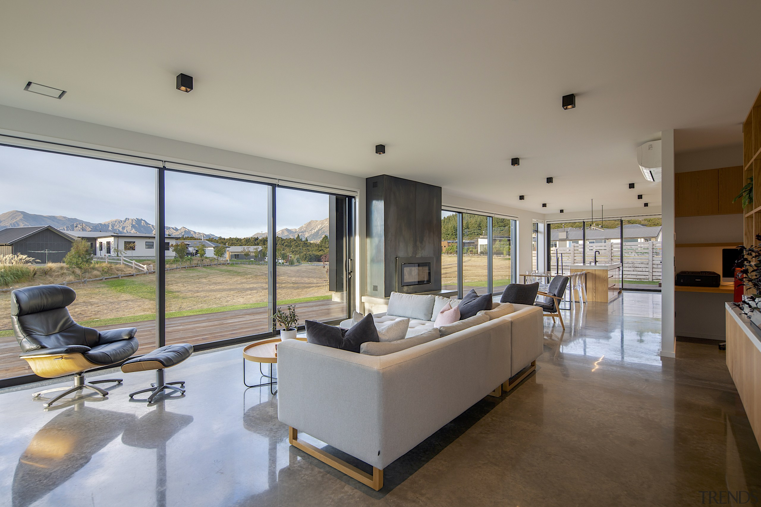 For this home, high windows and doors and gray