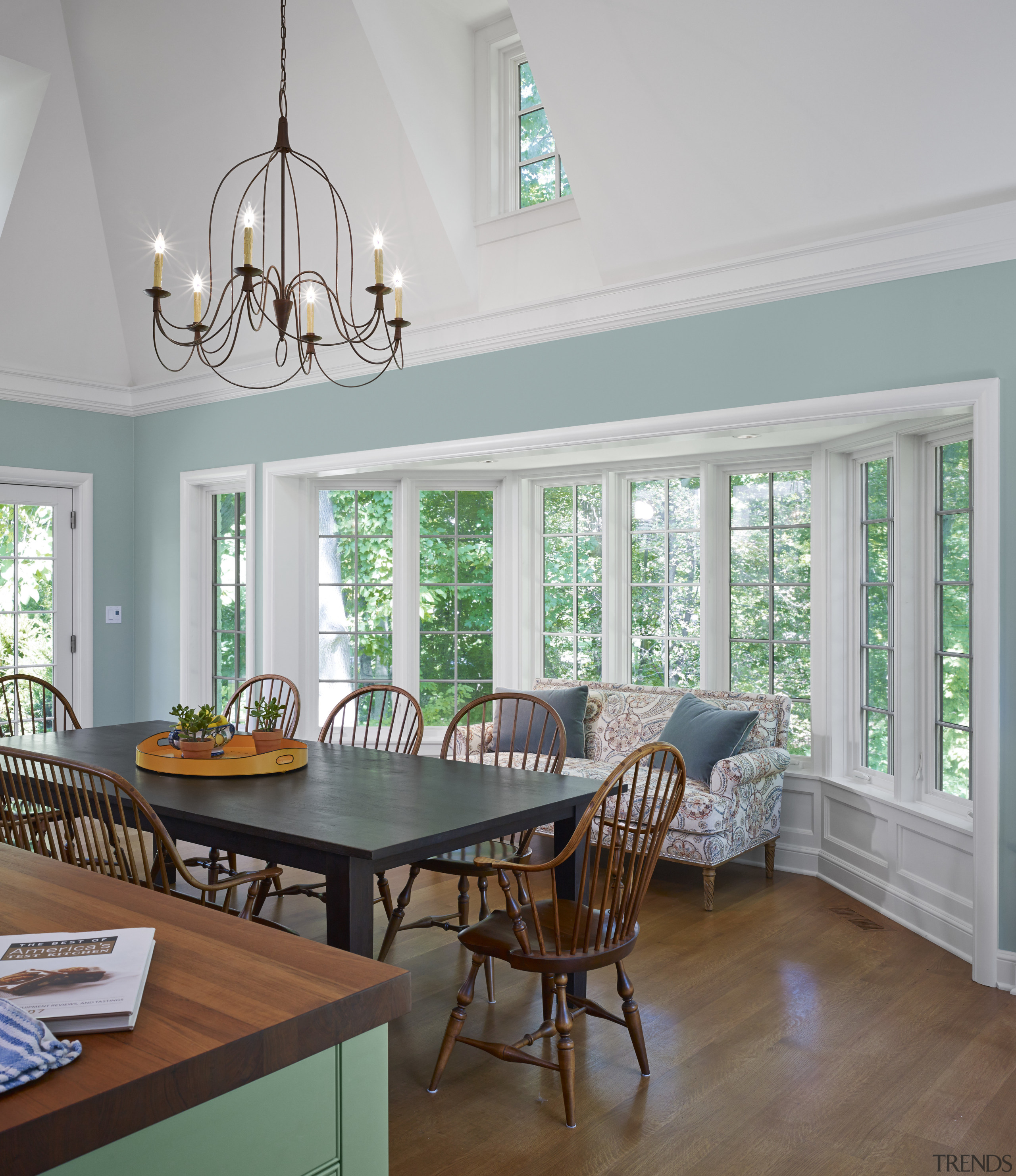This new kitchen annex includes a bay window, ceiling, dining room, home, interior design, living room, room, table, window, wood, gray