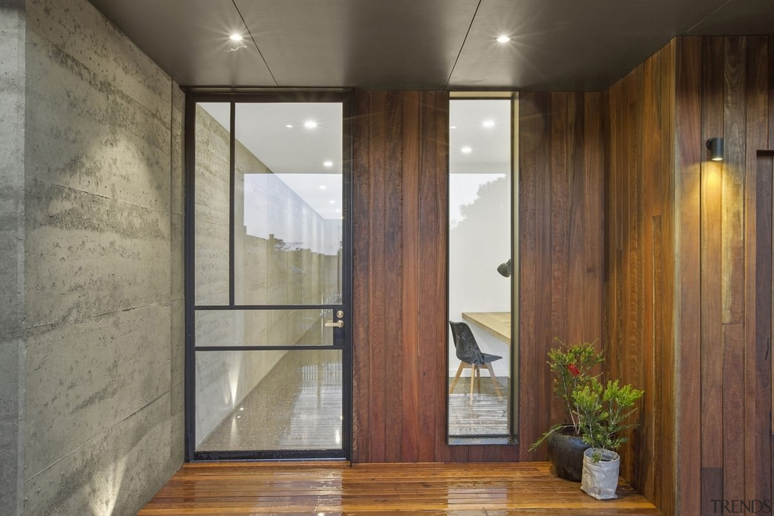 A glass front door makes for an inviting architecture, door, interior design, real estate, wall, window, wood, gray, brown
