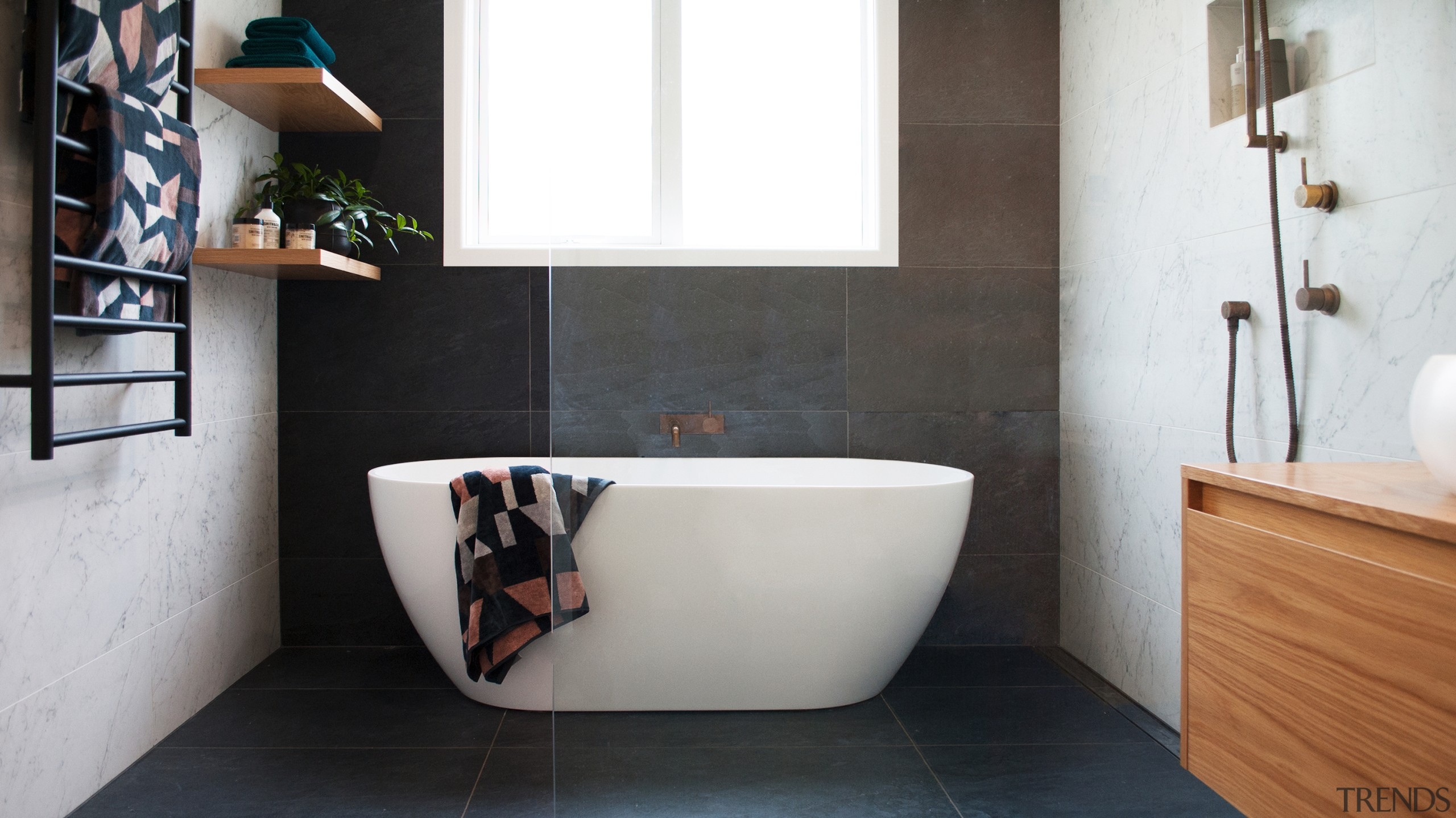 Design Haus – Highly Commended – 2019 TIDA architecture, bathroom, bathtub, black, black-and-white, building, ceramic, floor, flooring, furniture, home, house, interior design, material property, plumbing fixture, property, room, tap, tile, wall, white, black