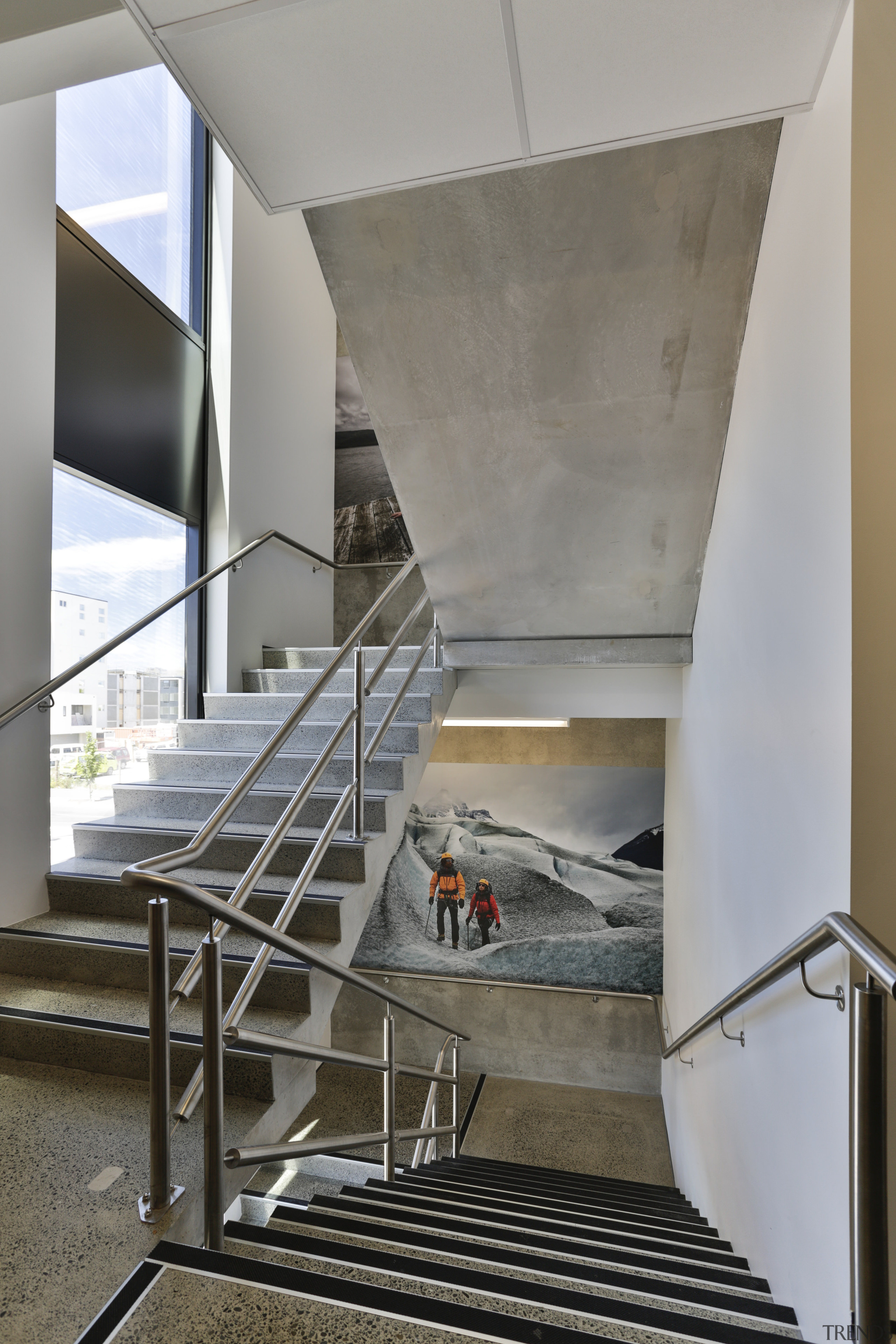 Adventure photography features in the stairwells of the apartment, architecture, daylighting, glass, handrail, house, interior design, stairs, structure, gray