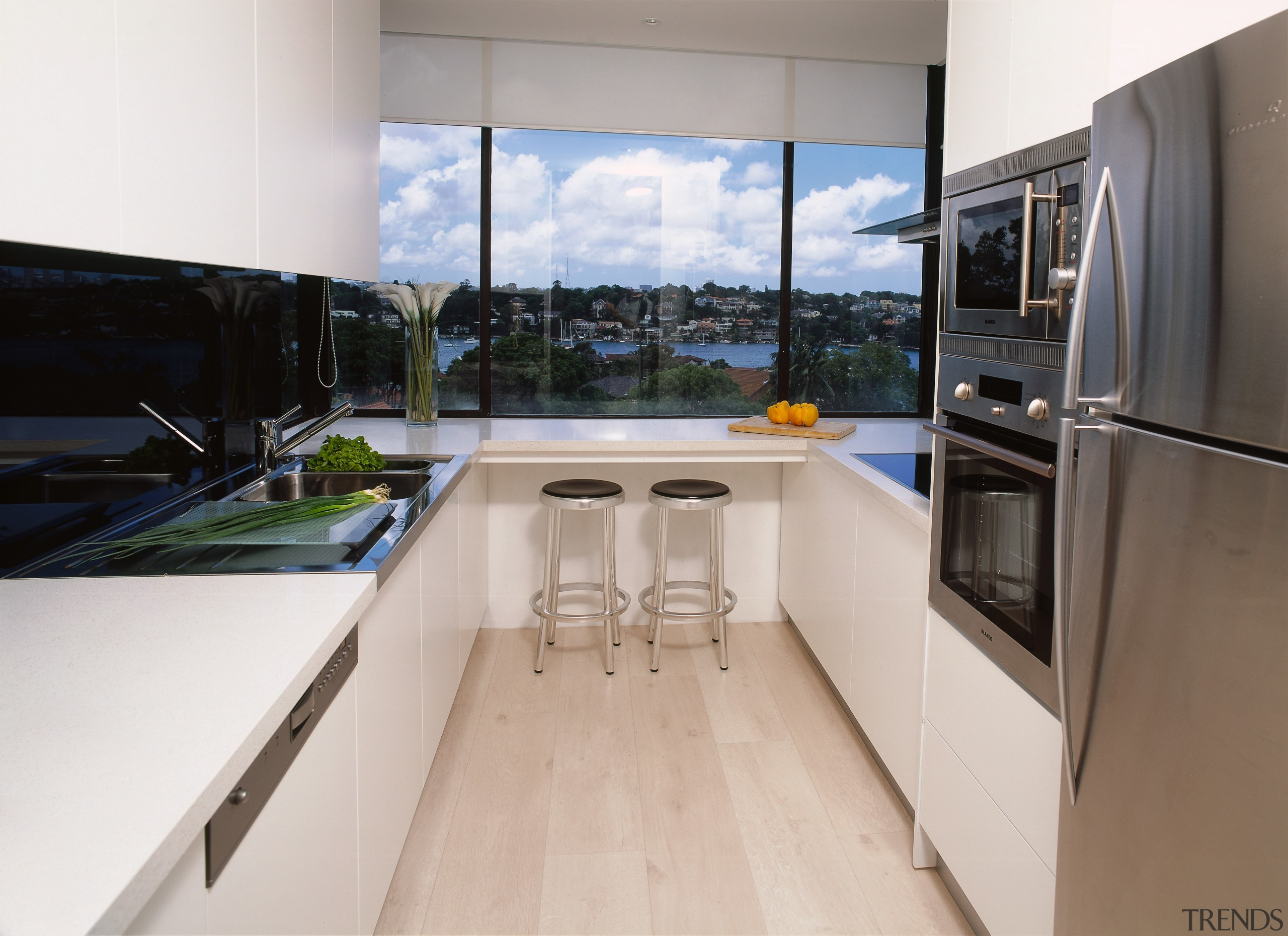 view of  the kitchen area and stainless countertop, interior design, kitchen, property, real estate, white