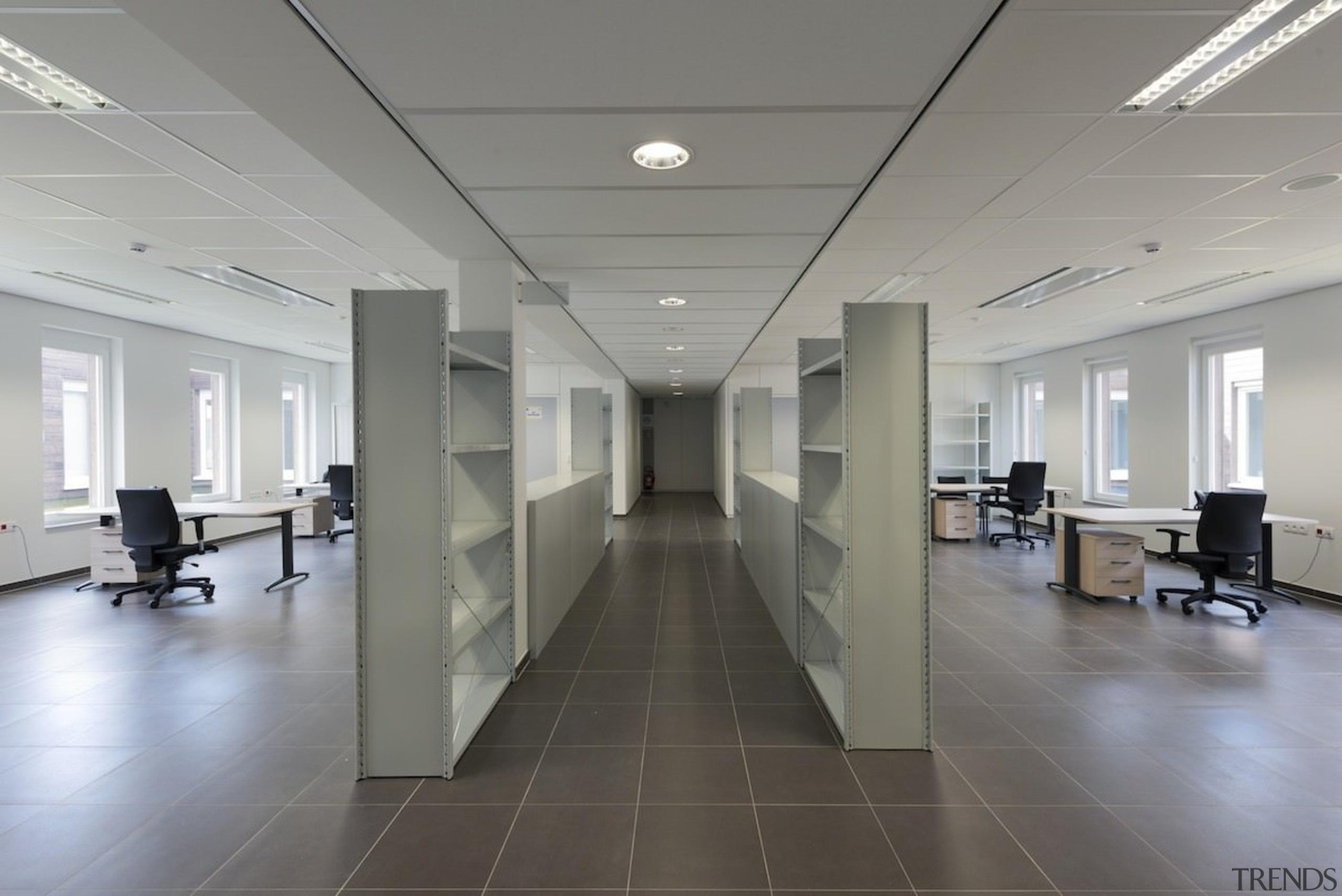 569 firestation - 569 firestation - ceiling | ceiling, floor, flooring, interior design, lobby, office, gray