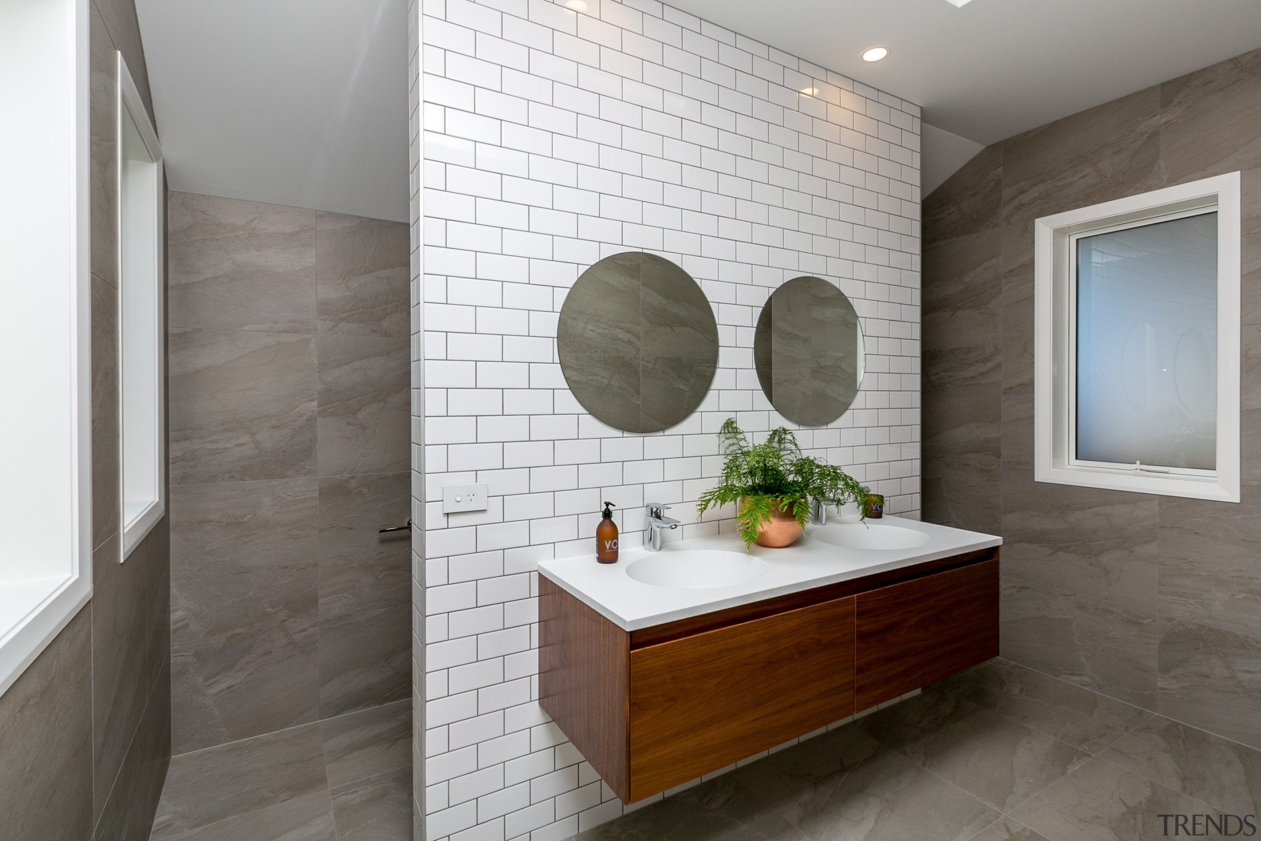 The Michel César Moode vanity looks fantastic mounted bathroom, floor, flooring, home, interior design, room, sink, tile, wall, gray