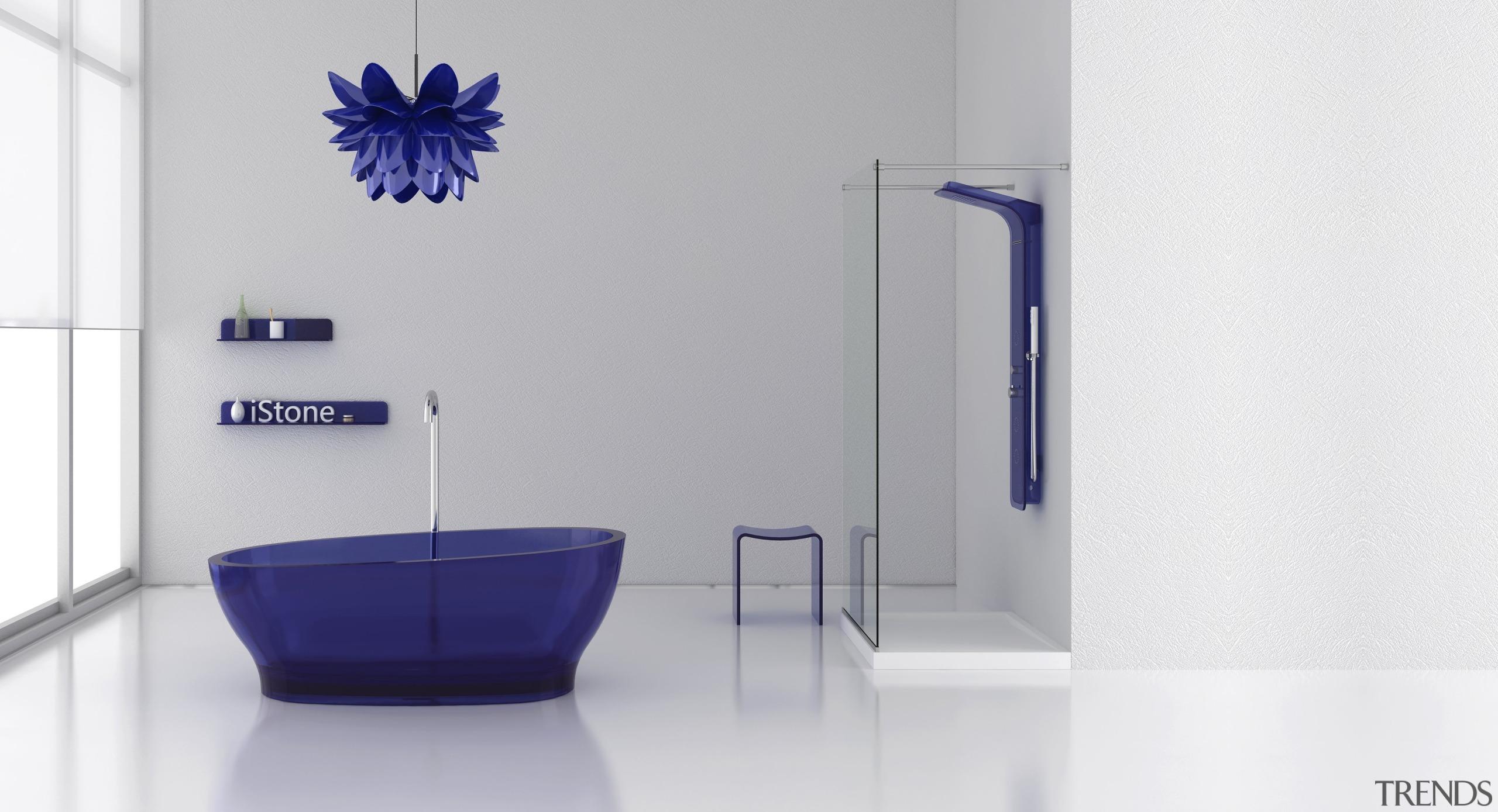 Famed Italian industrial designers ZAAFDesigns has broken the bathroom, blue, interior design, plumbing fixture, product design, purple, tap, white